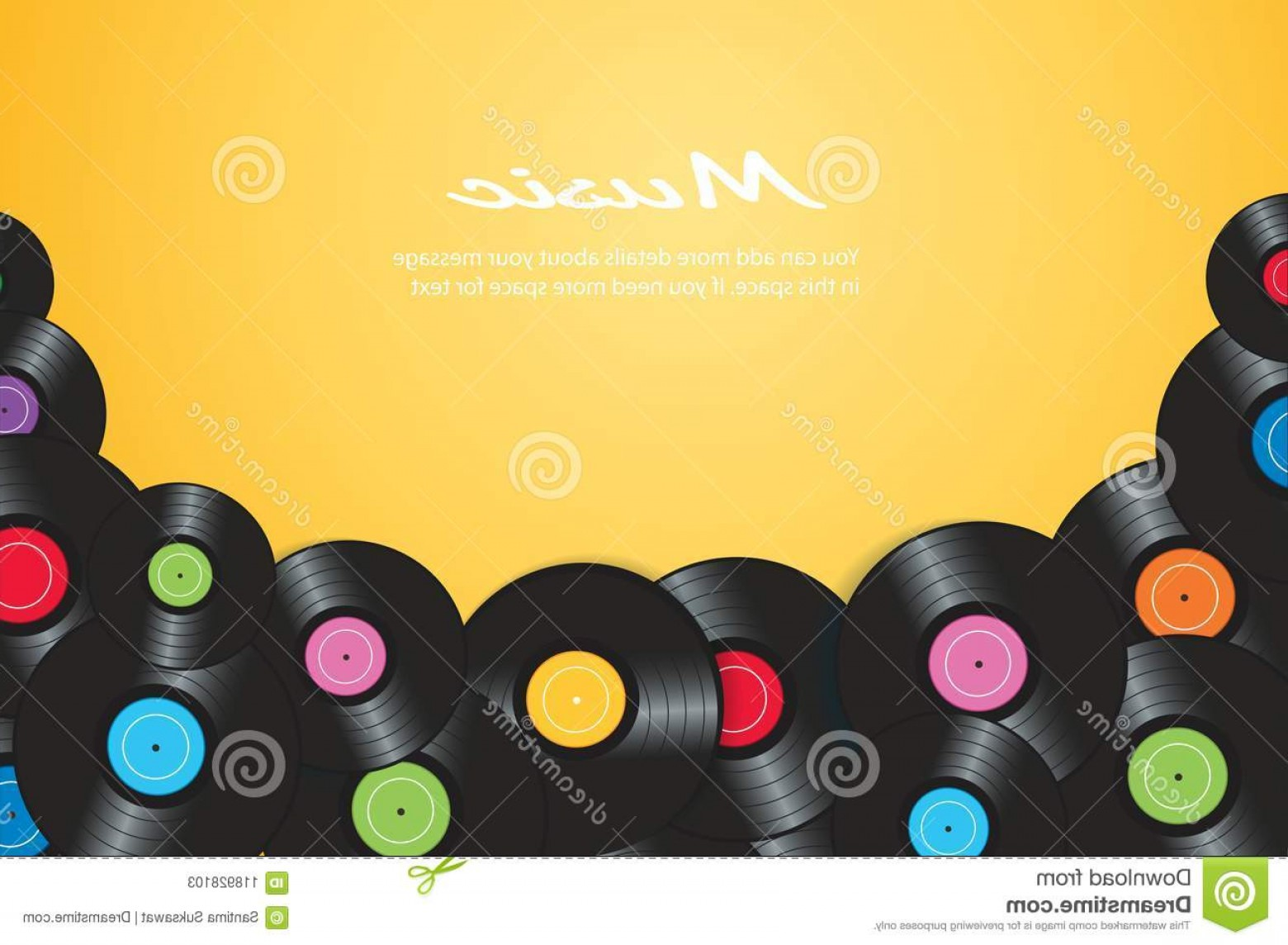 Vector Vinyl Rolls: Colorful Vinyl Records Yellow Background Vector Illustration Colorful Vinyl Records Yellow Background Vector Image