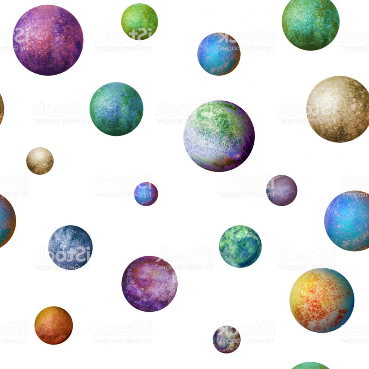 Vector Sphere Marble: Colorful Watercolor Planets Seamless Pattern Gm