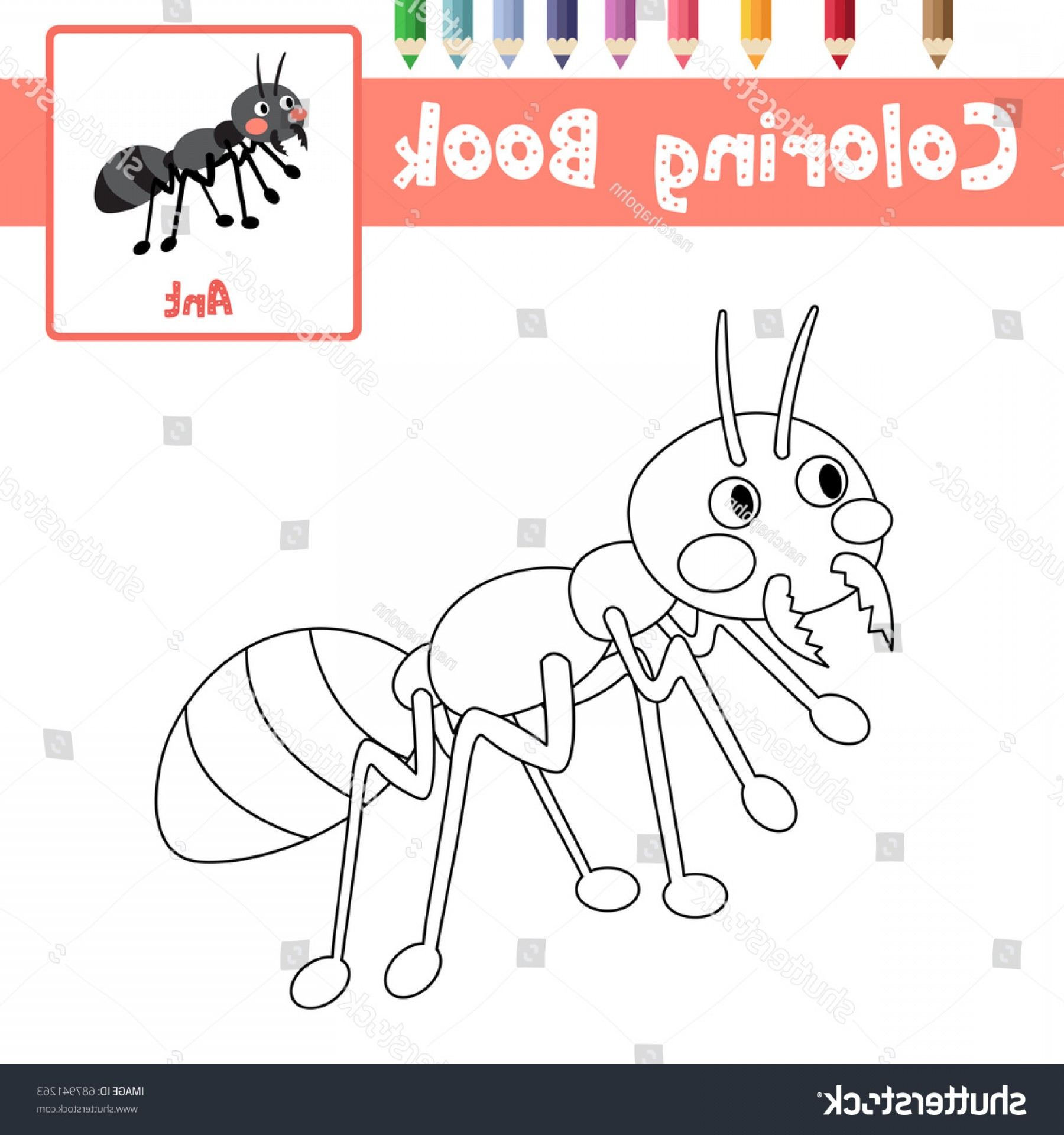 Mosquito Vector Worksheet: Coloring Page Black Ants Animals Preschool