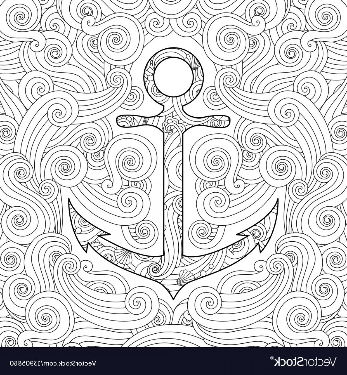 Zentangle Vector: Coloring Page With Anchor In Waves Zentangle Vector