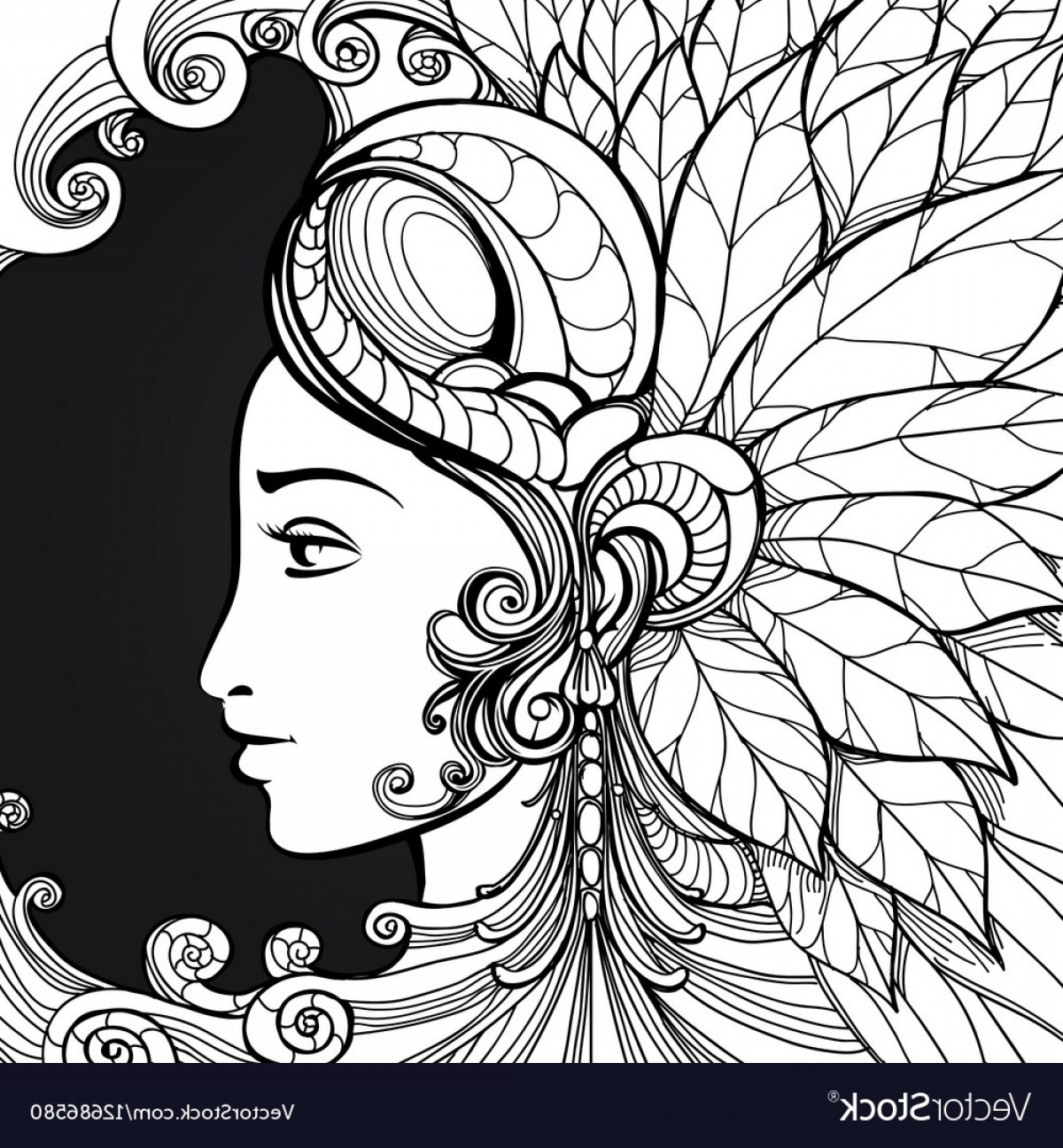 Zentangle Vector: Coloring Zentangle Woman Face On Black Vector