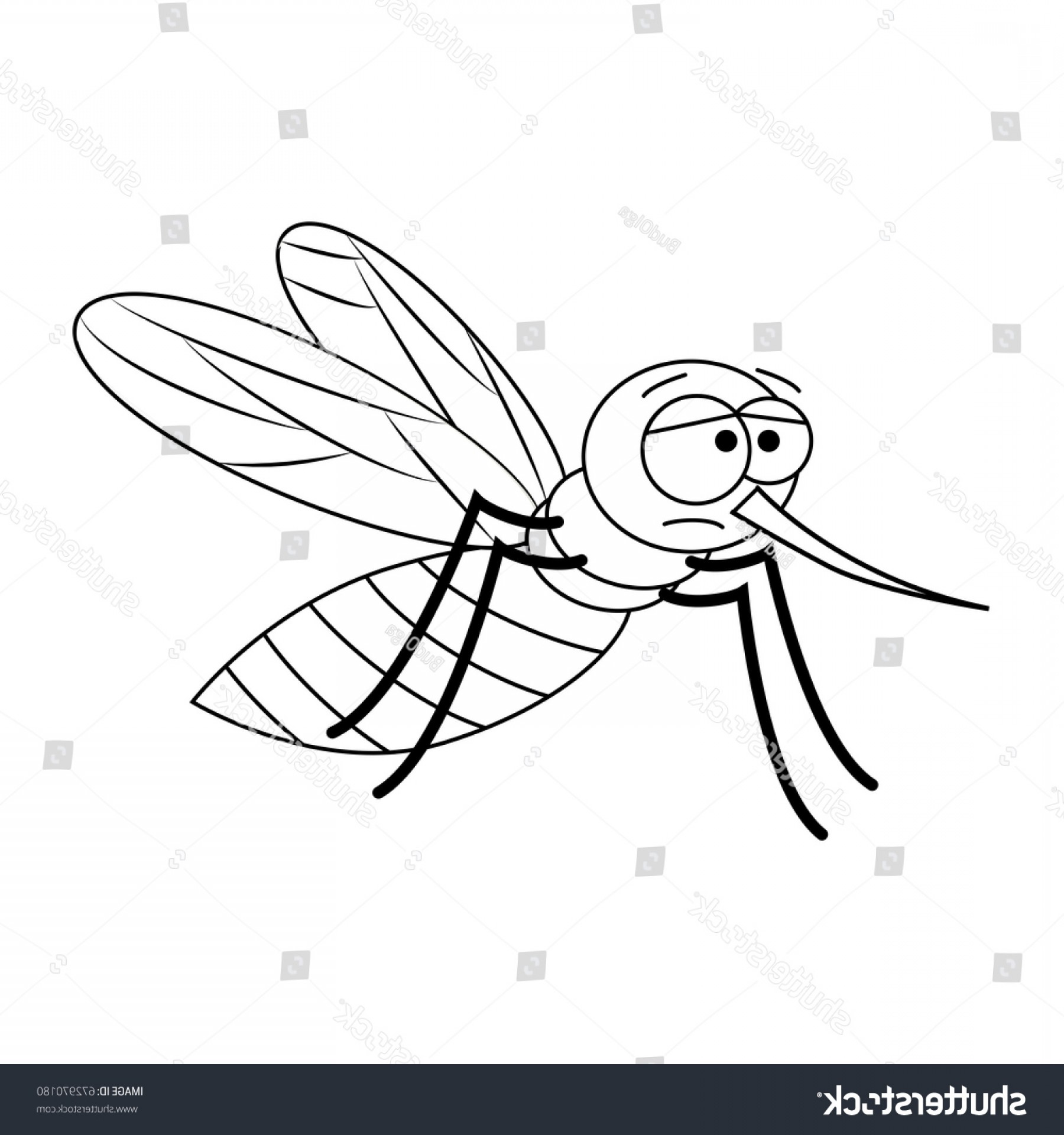 Mosquito Vector Worksheet: Colorless Funny Cartoon Mosquito Vector Illustration