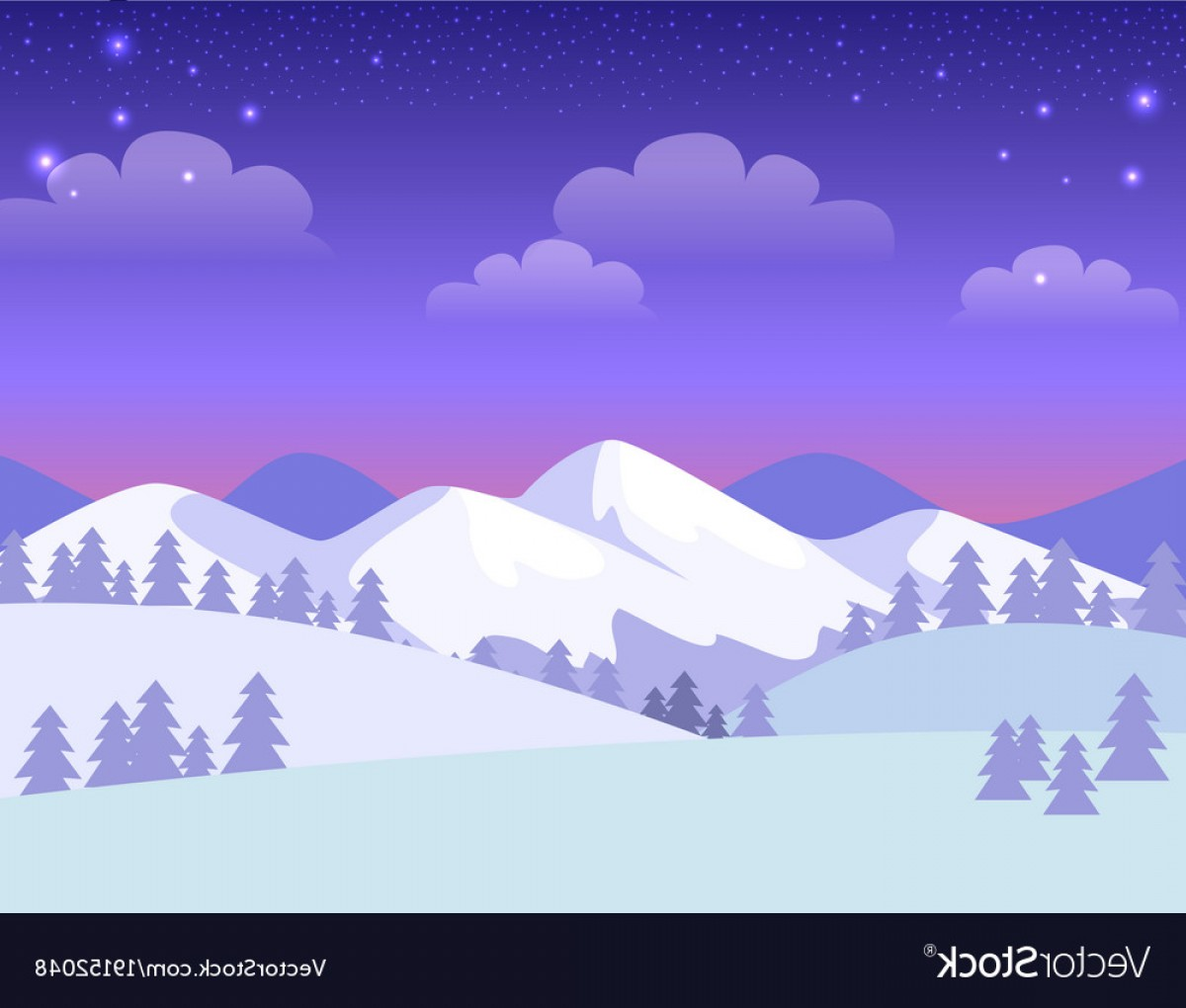 Snowy Mountain Vector Graphics: Colourful Greeting Card With Snowy Mountains Vector