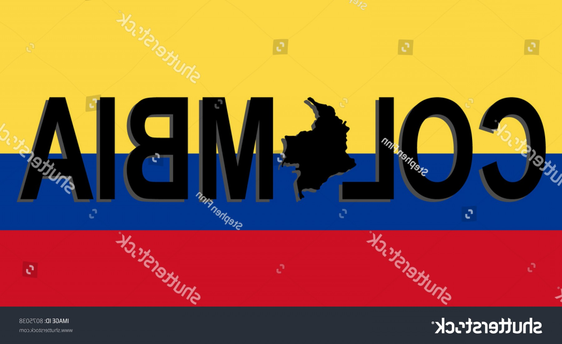 Columbia Logo Vector: Columbia Text Map On Flag Illustration
