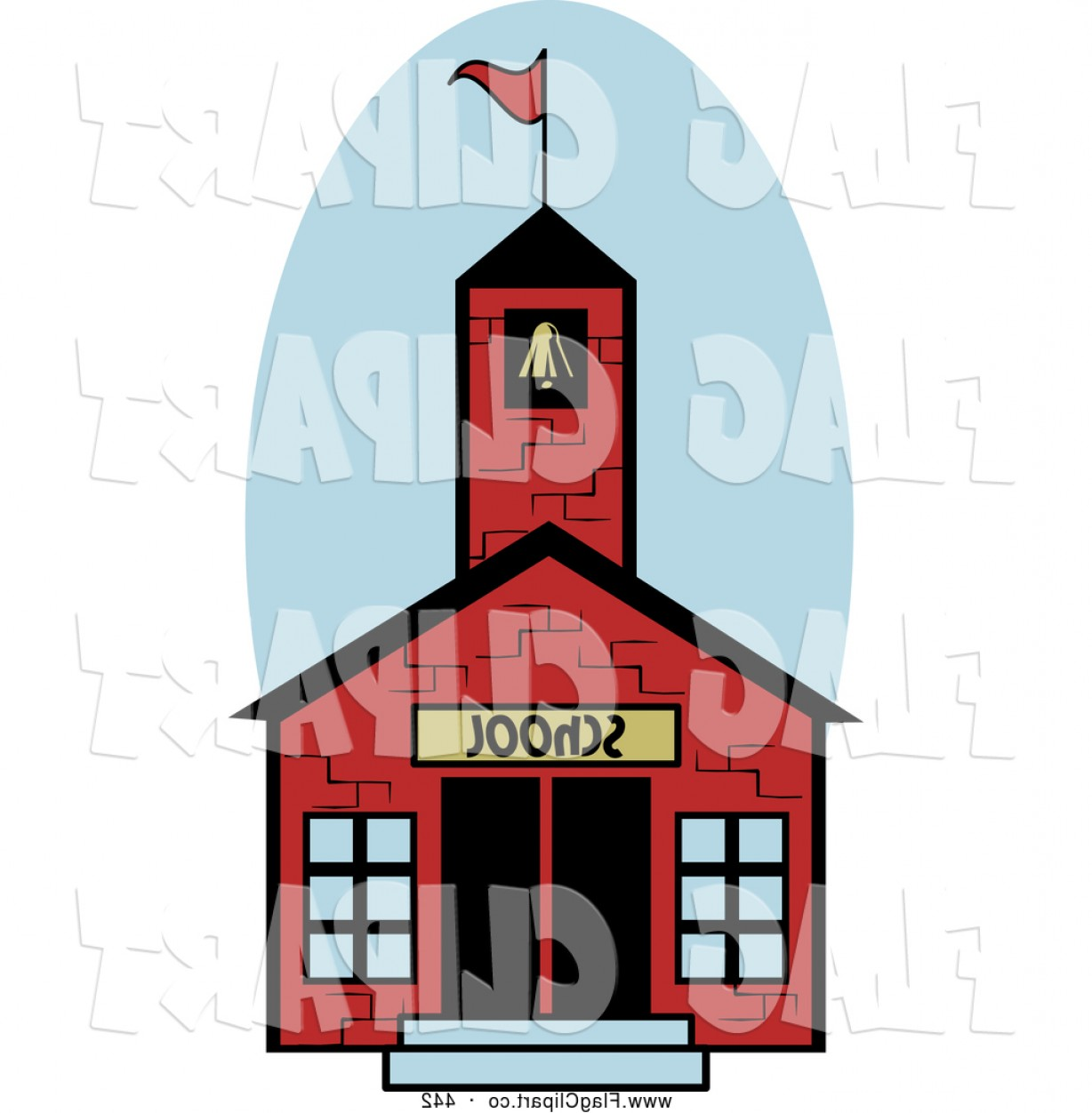 Vector Clip Art Red Schoolhouse: Comfortable Facade Small House With Brick Wall Vector Illustration Clipart