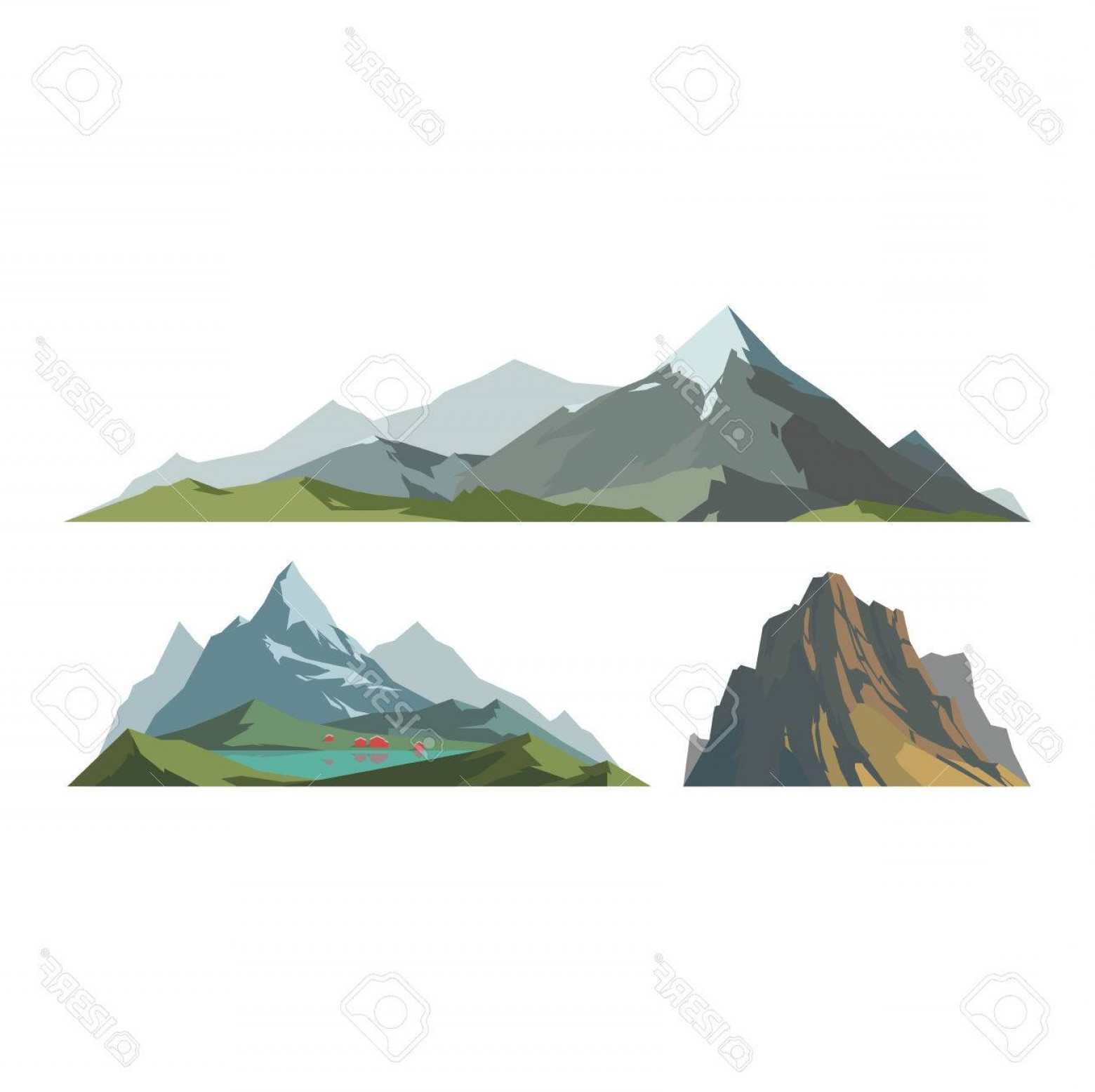 Mountain Range Silhouette Vector Free: Comfortable Photostock Vector Mountain Vector Illustration Nature Mountain Silhouette Elements Outdoor Icon Snow Ice Mountain Tops
