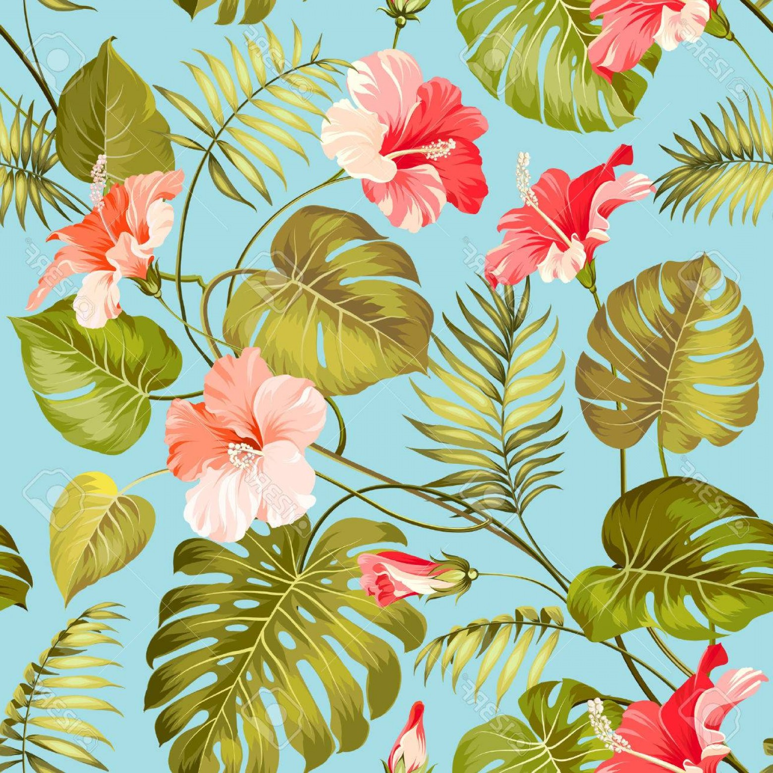Hawaiian Flower Seamless Vector Pattern: Comfortable Photostock Vector Seamless Tropical Pattern Blossom Flowers For Seamless Pattern Background Vector Illustration