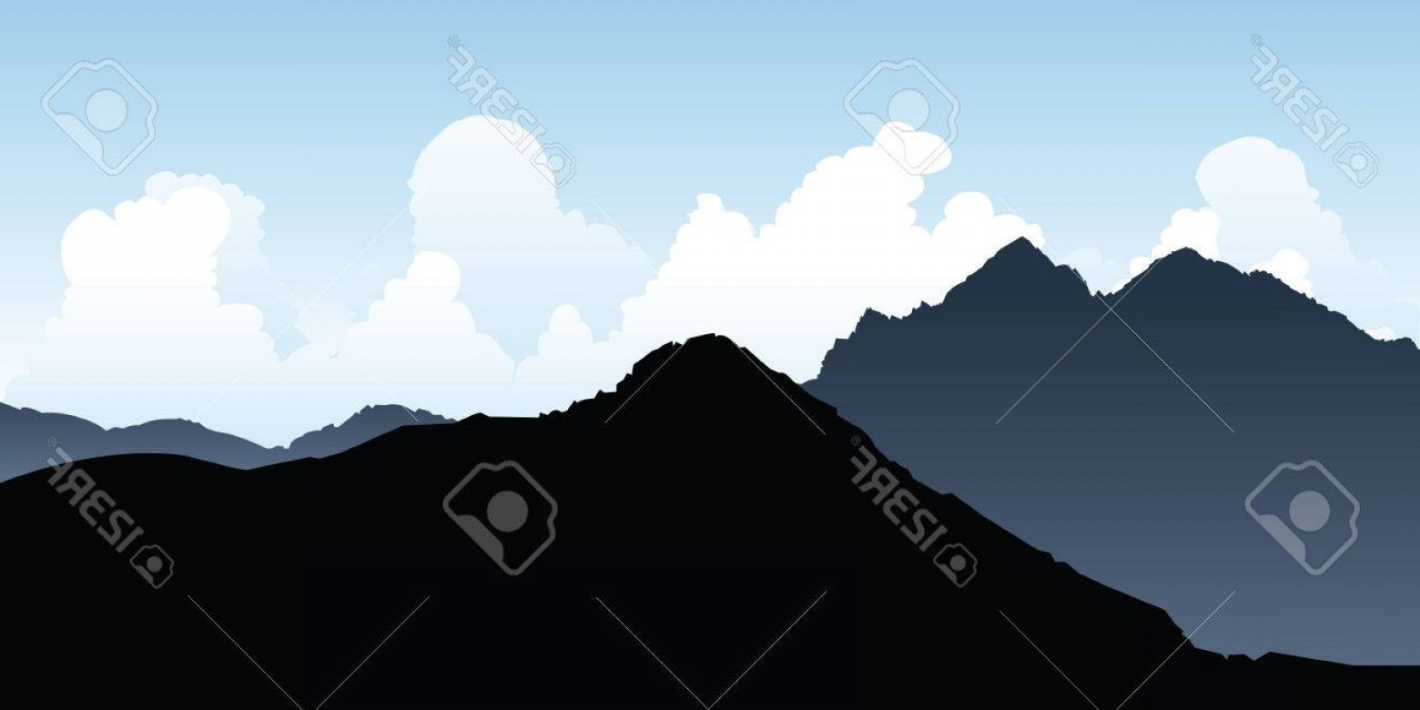 Mountain Range Silhouette Vector Free: Comfortable Photostock Vector Silhouette Of Rocky Mountain Peaks In The Andes In Argentina