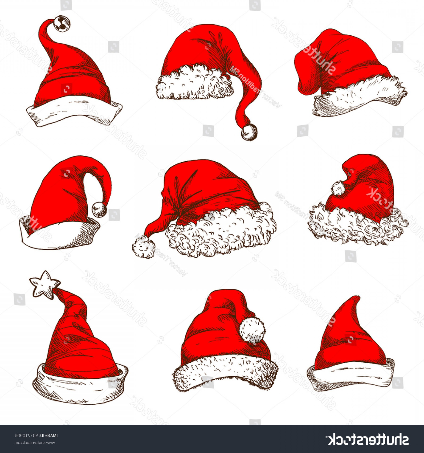 Stocking Hat Vector: Comfortable Santa Claus Red Hat Icon Set