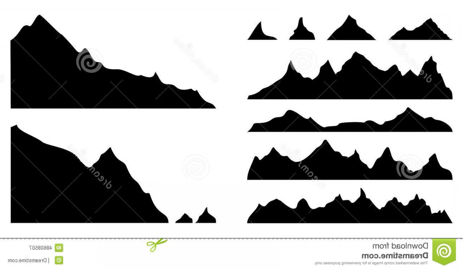 Mountain Range Silhouette Vector Free: Comfortable Stock Illustration Mountains Silhouettes Set Mountain Vector Illustration Image