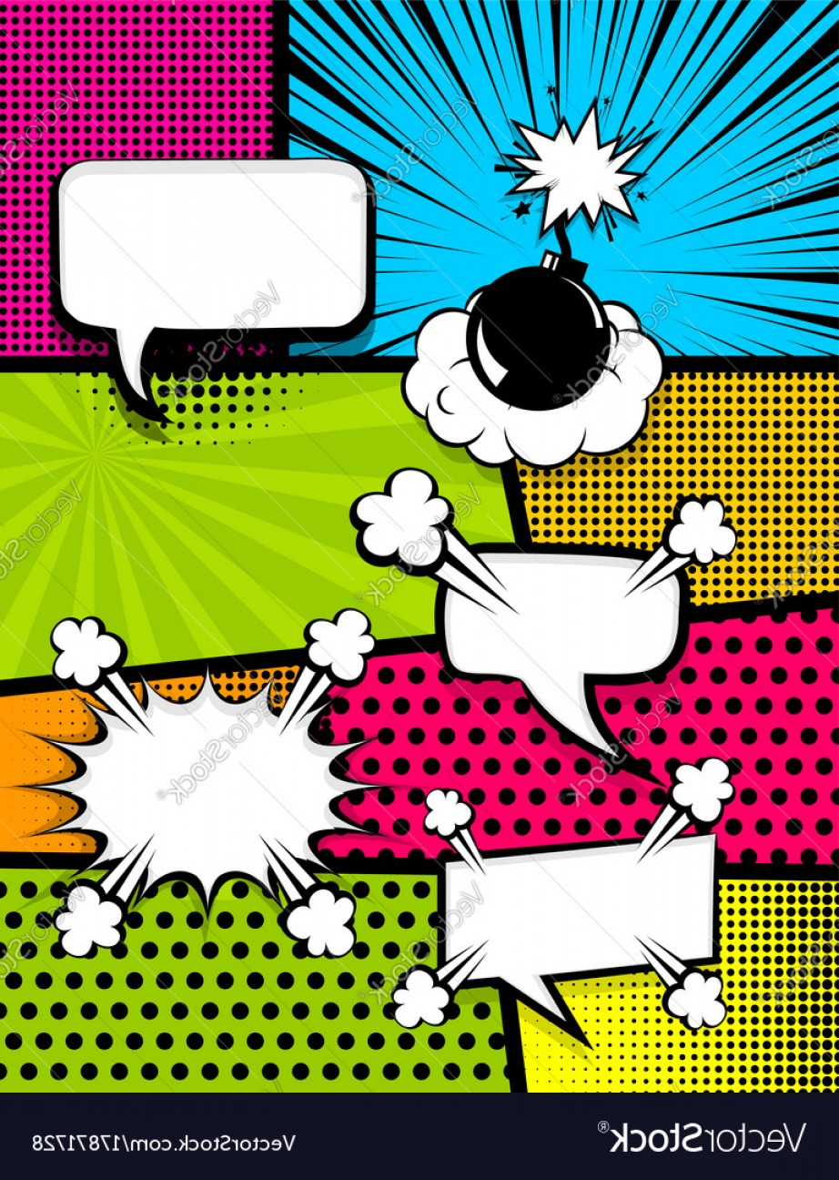 Comic Book Vector Graphics: Comic Book Pop Art Vertical Back Vector