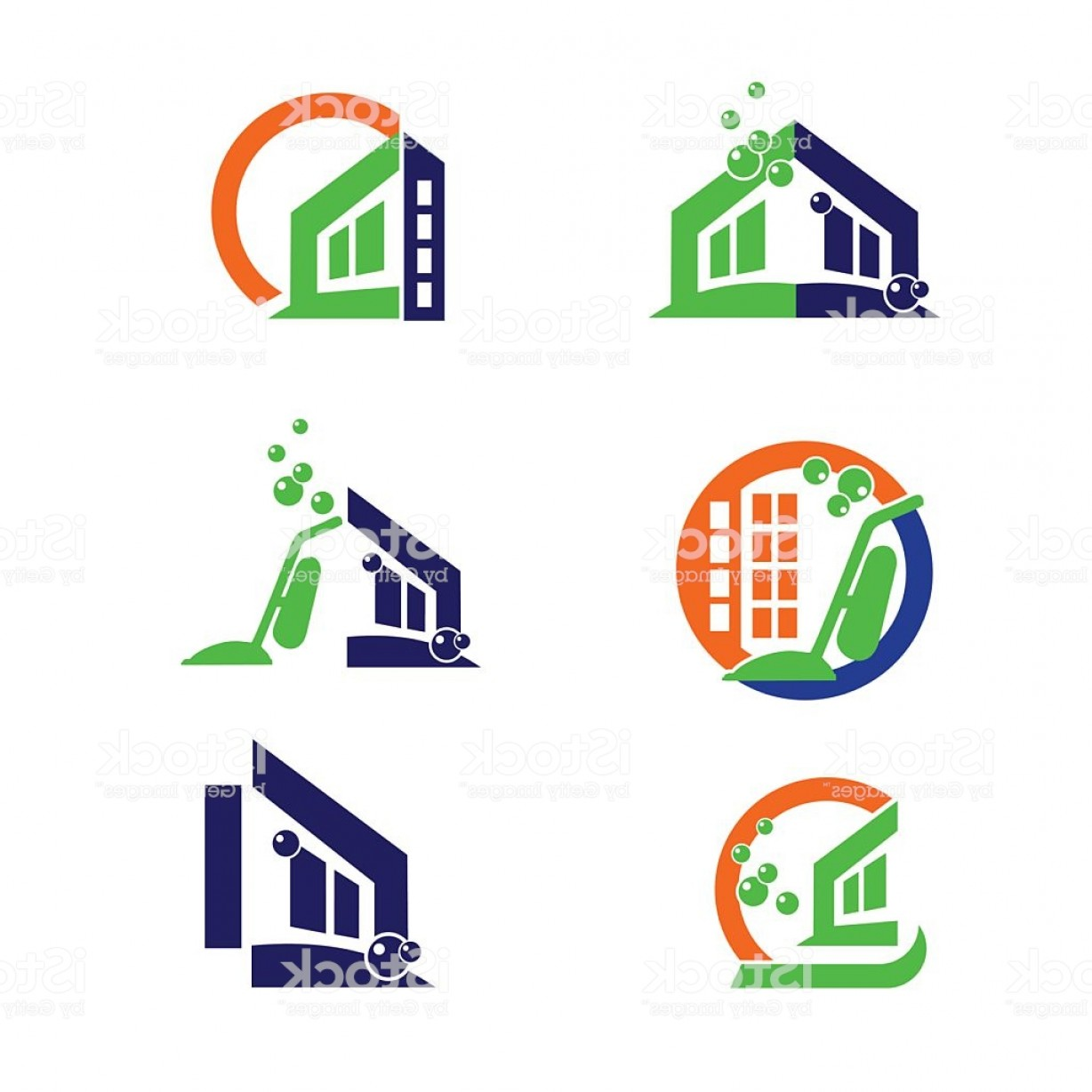 Cleaning Logo Vector Art: Commercial Home Cleaning Logo And Apps Icons Gm
