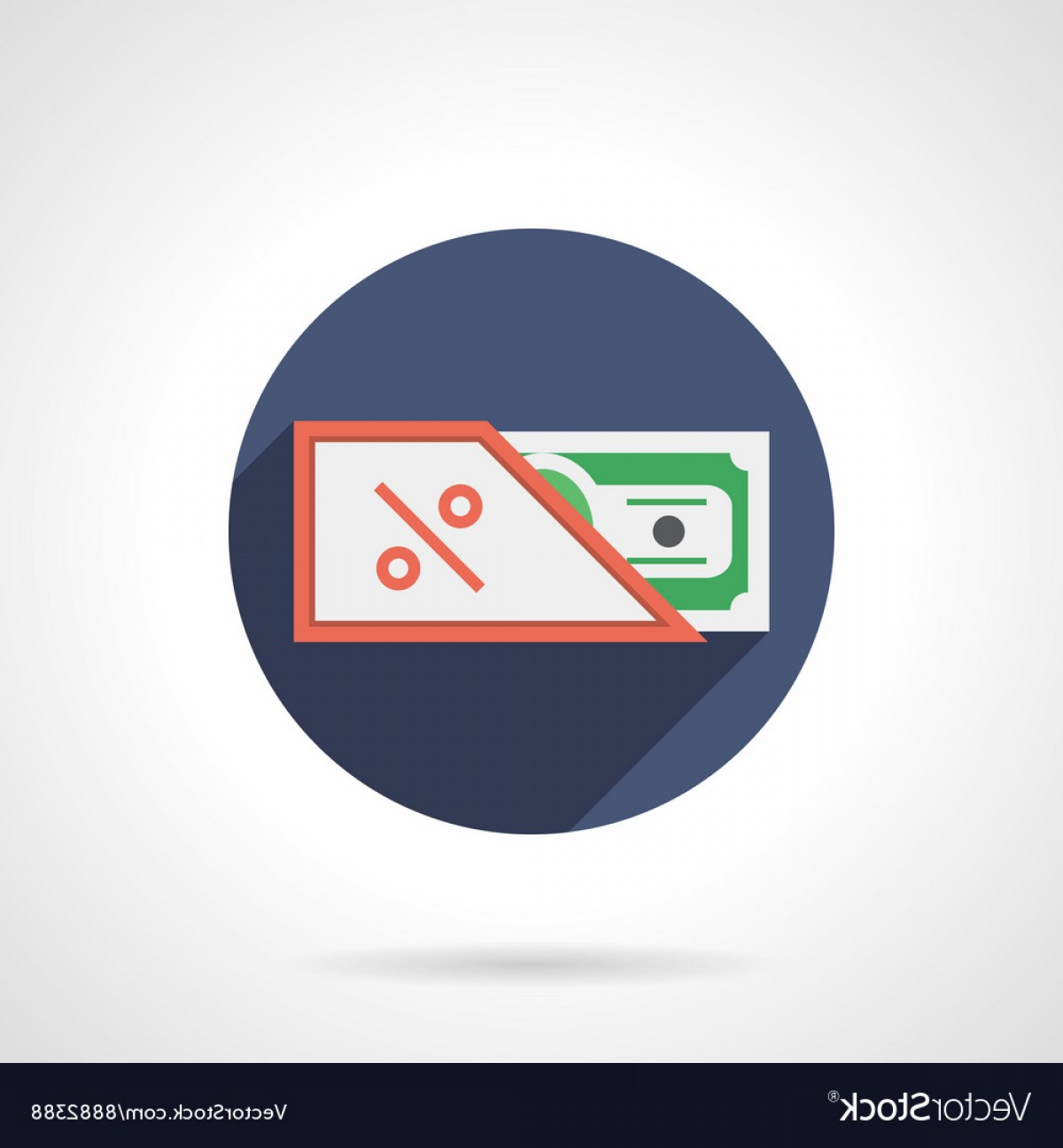 Vector Marketing Commission: Commission Flat Color Round Icon Vector