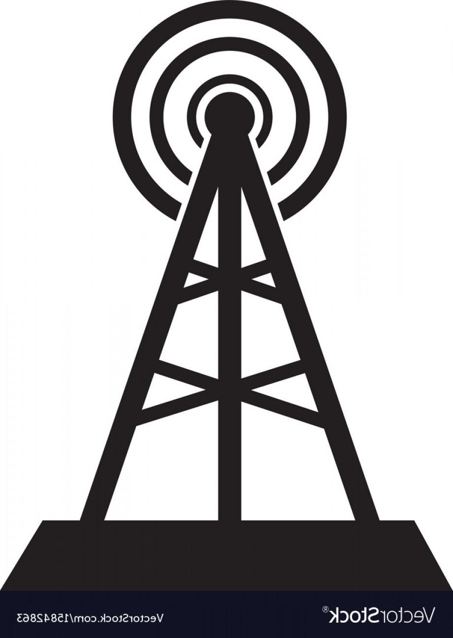 Vector Phone Tower: Communication Tower Icon Isolated In White Vector