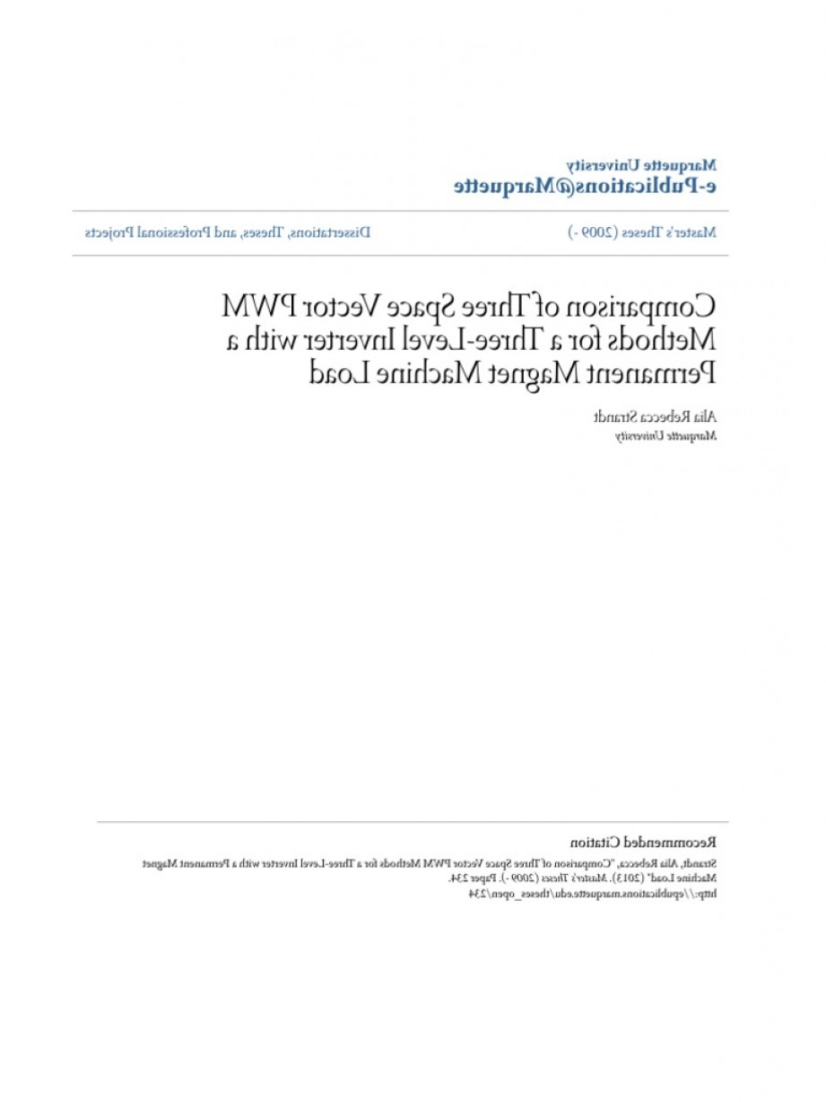 Space Vector PWM: Comparison Of Three Space Vector Pwm Methods For A Three Level In