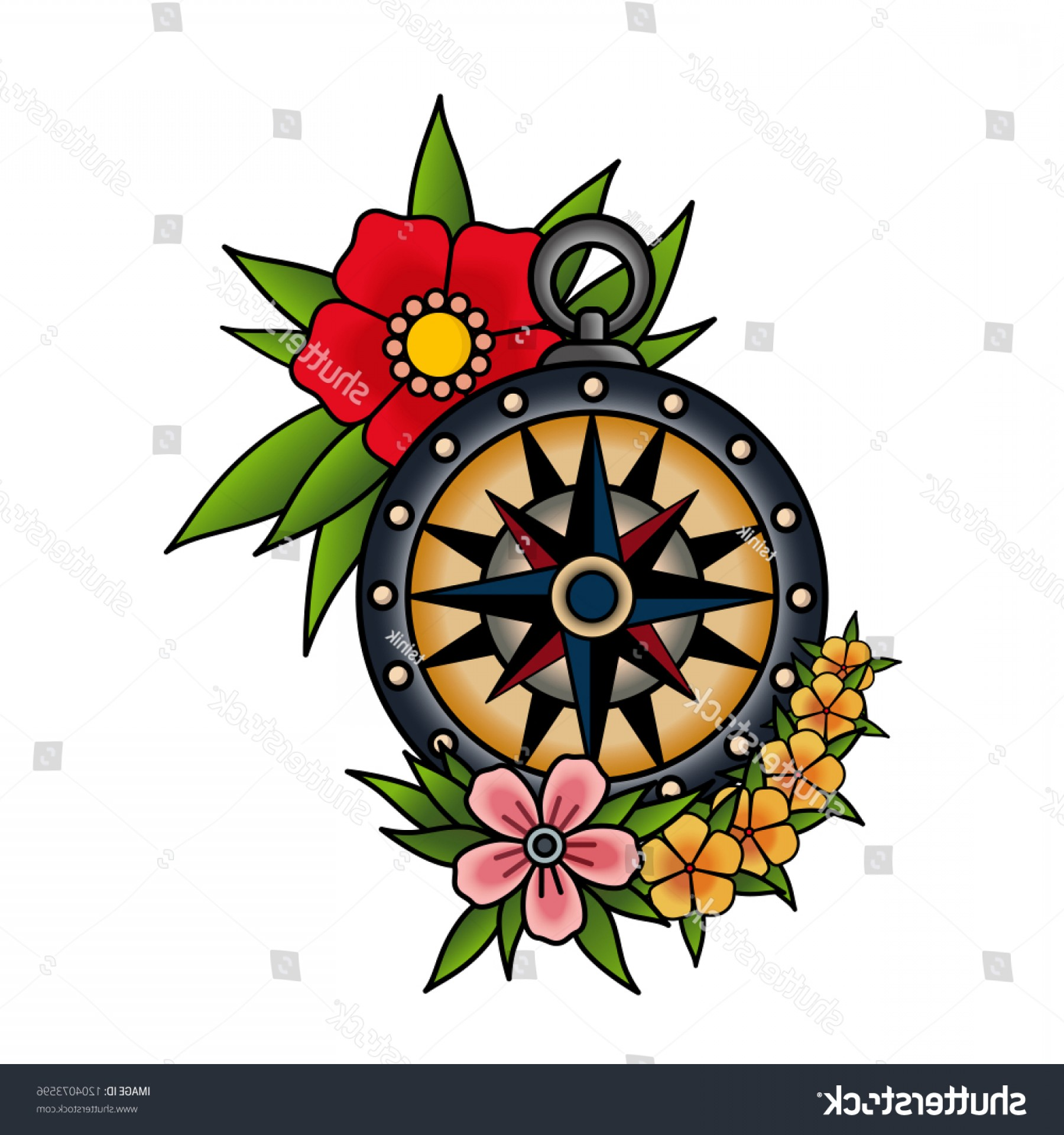 Mandala Vector Simple Compass: Compass Flowers Old School Tattoo Style
