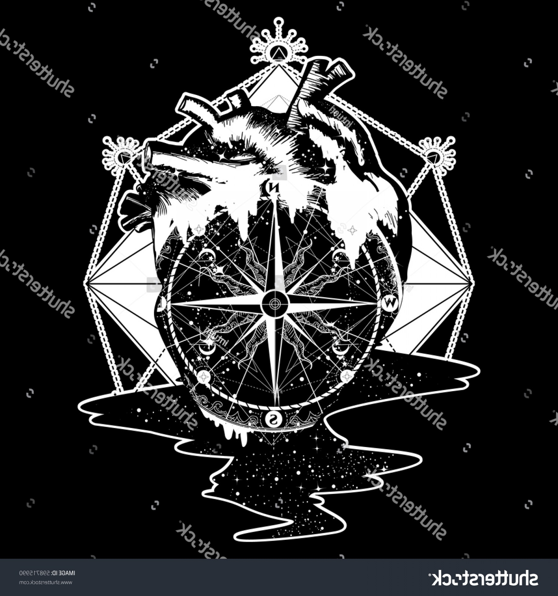 Sacred Heart Vector Genius: Compass Heart Steampunk Tattoo Geometric Style