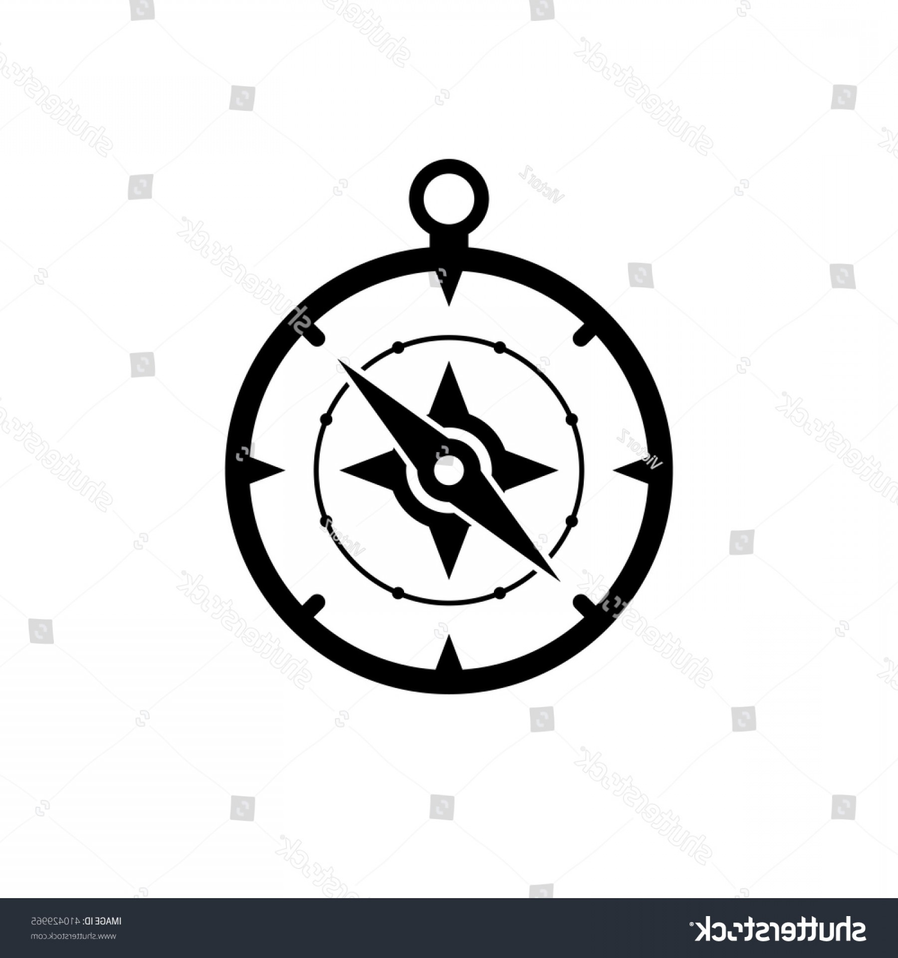 Simple Compass Vector Black And White: Compass Icon Black Isolated On White
