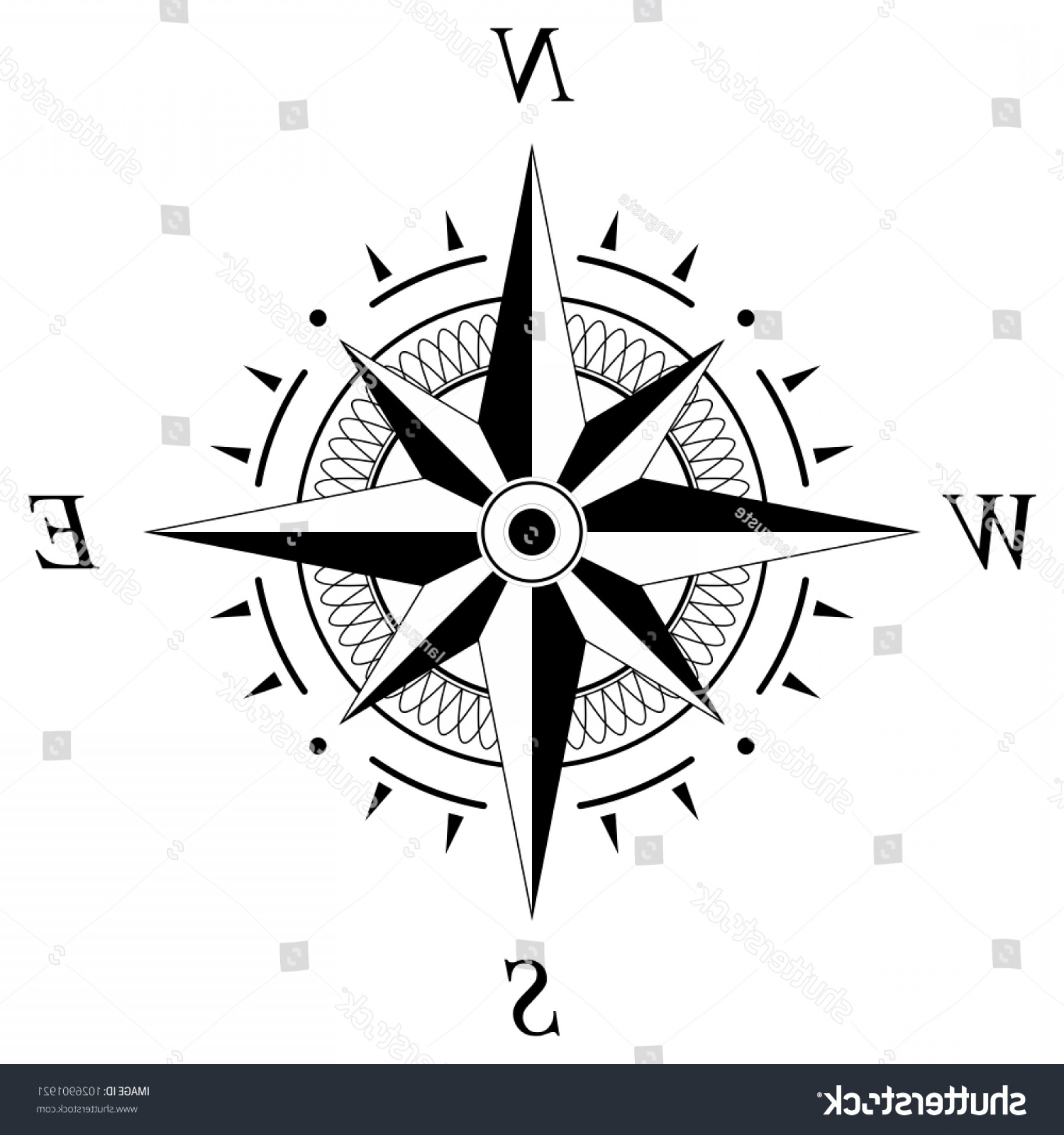 4 Point Nautical Star Vector: Compass Rose Marine Nautical Navigation Geographic