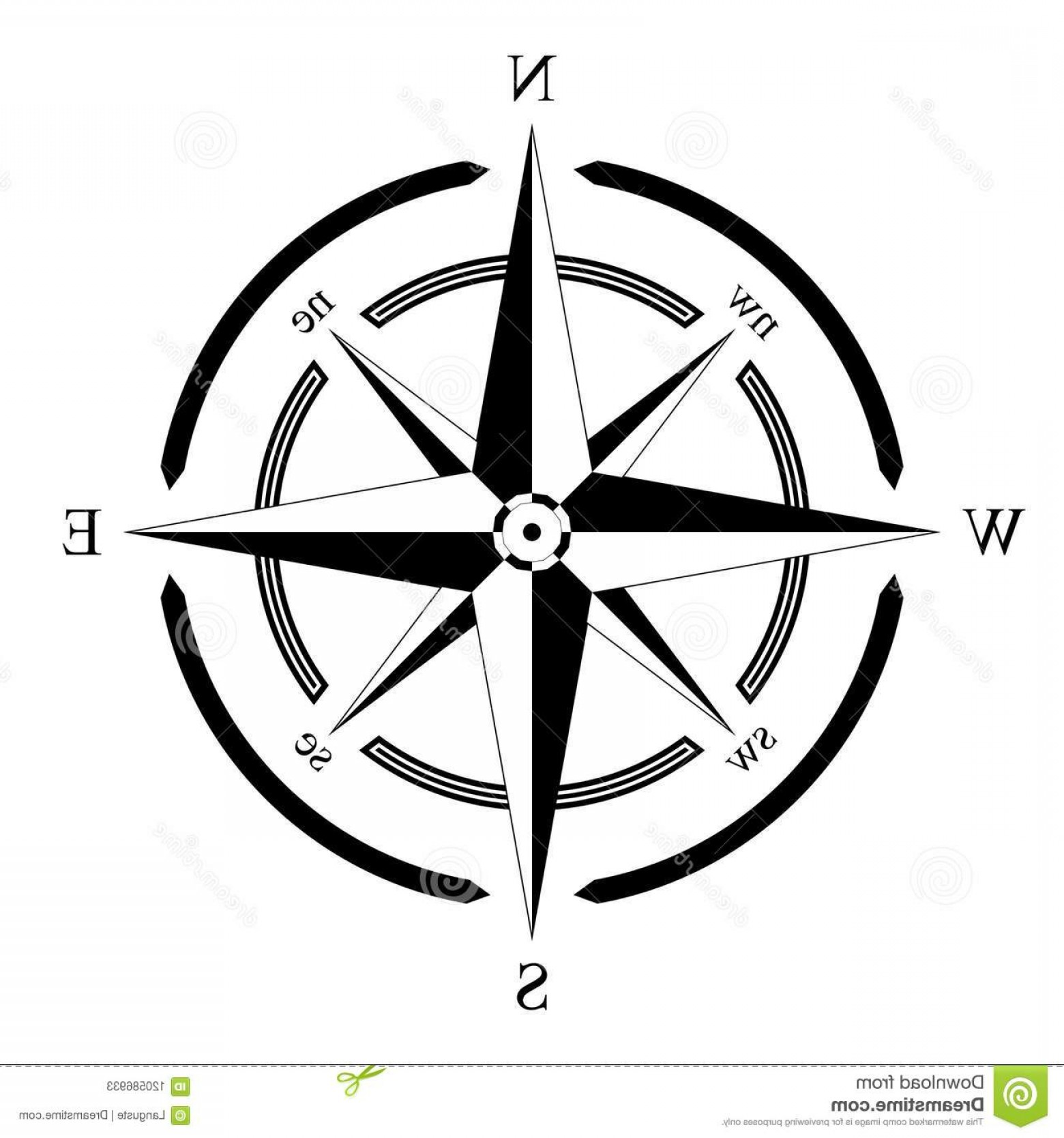 Mandala Vector Simple Compass: Compass Rose Vector Isolated White Background Usable As Marine Nautical Navigation Symbol All Related Wind Image