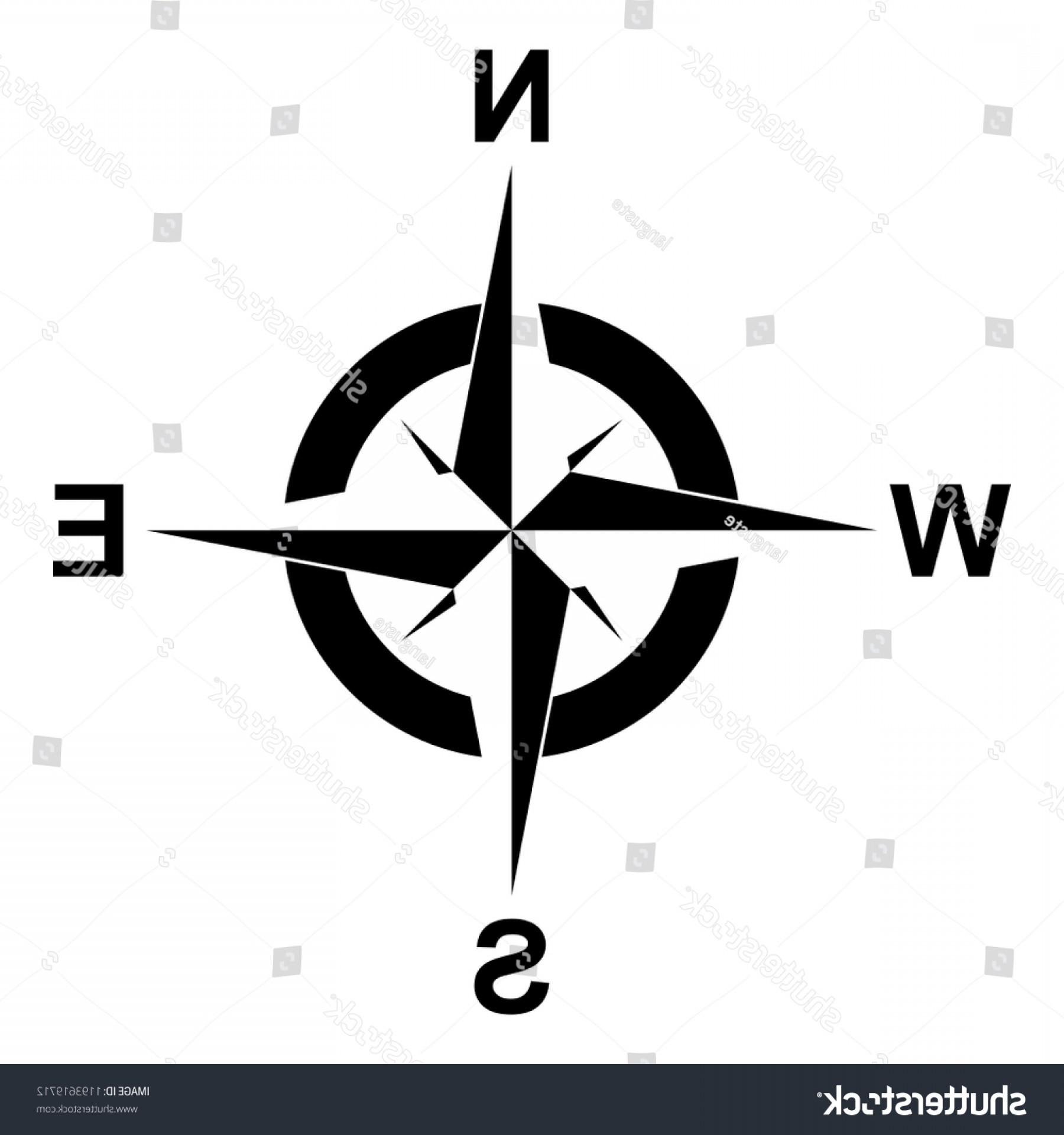 Mandala Vector Simple Compass: Compass Rose Vector On Isolated White