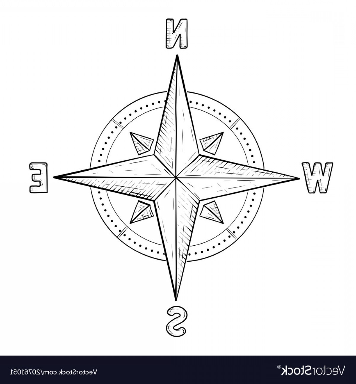 4 Point Nautical Star Vector: Compass Rose With Cardinal Points Hand Drawn Vector