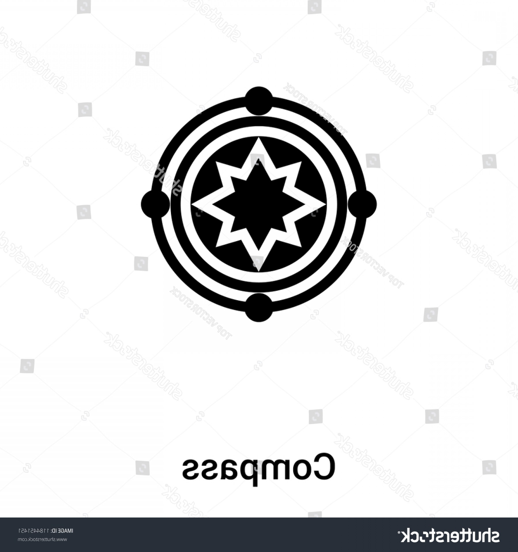 Mandala Vector Simple Compass: Compass Symbol Icon Vector Isolated On