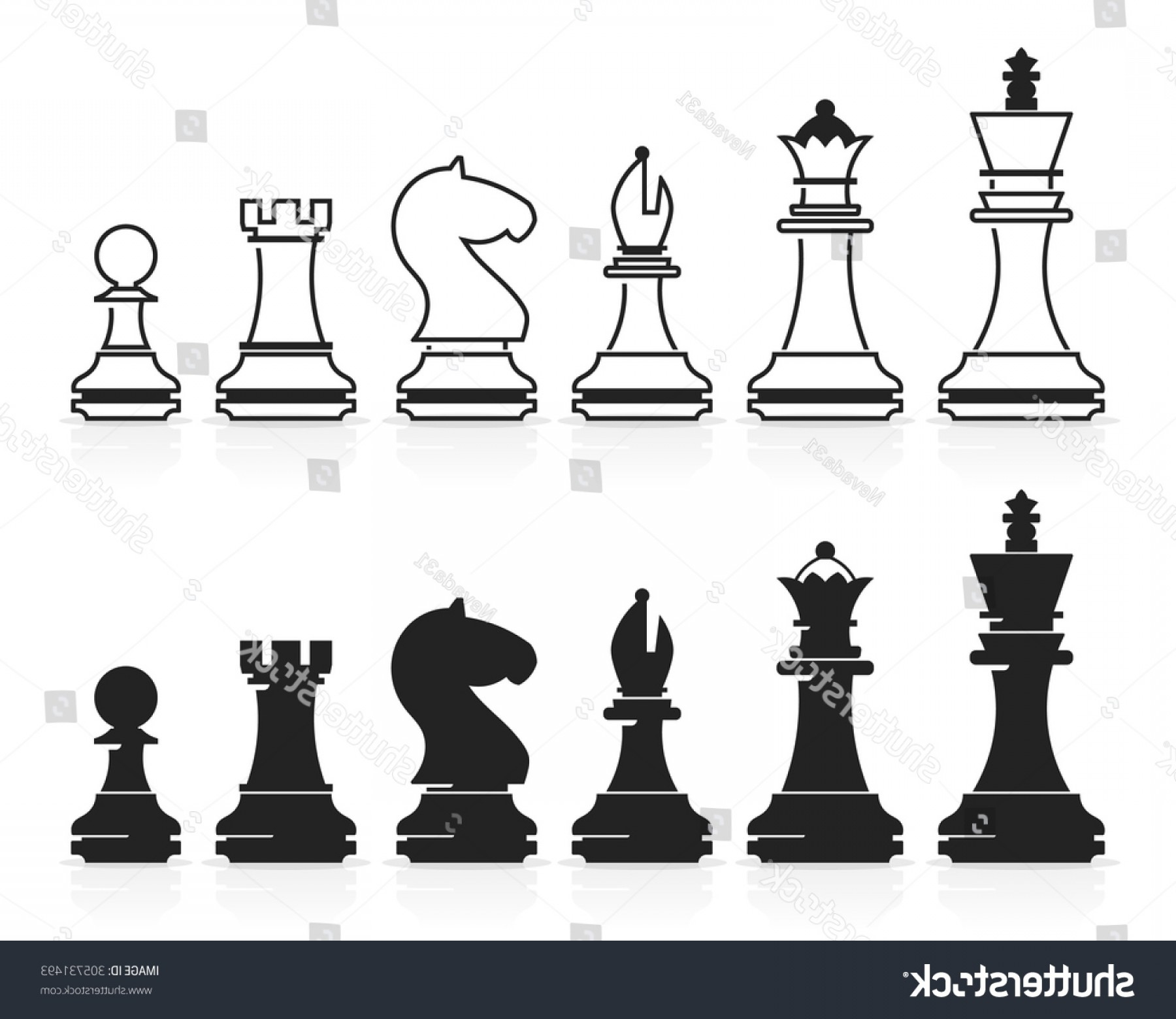 Vector Chess Board: Complete Set Vector Chess Pieces