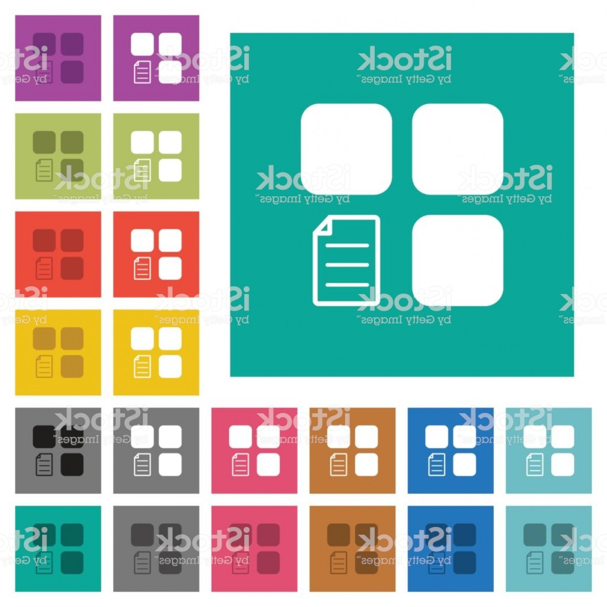 Vector Angle Properties: Component Properties Square Flat Multi Colored Icons Gm