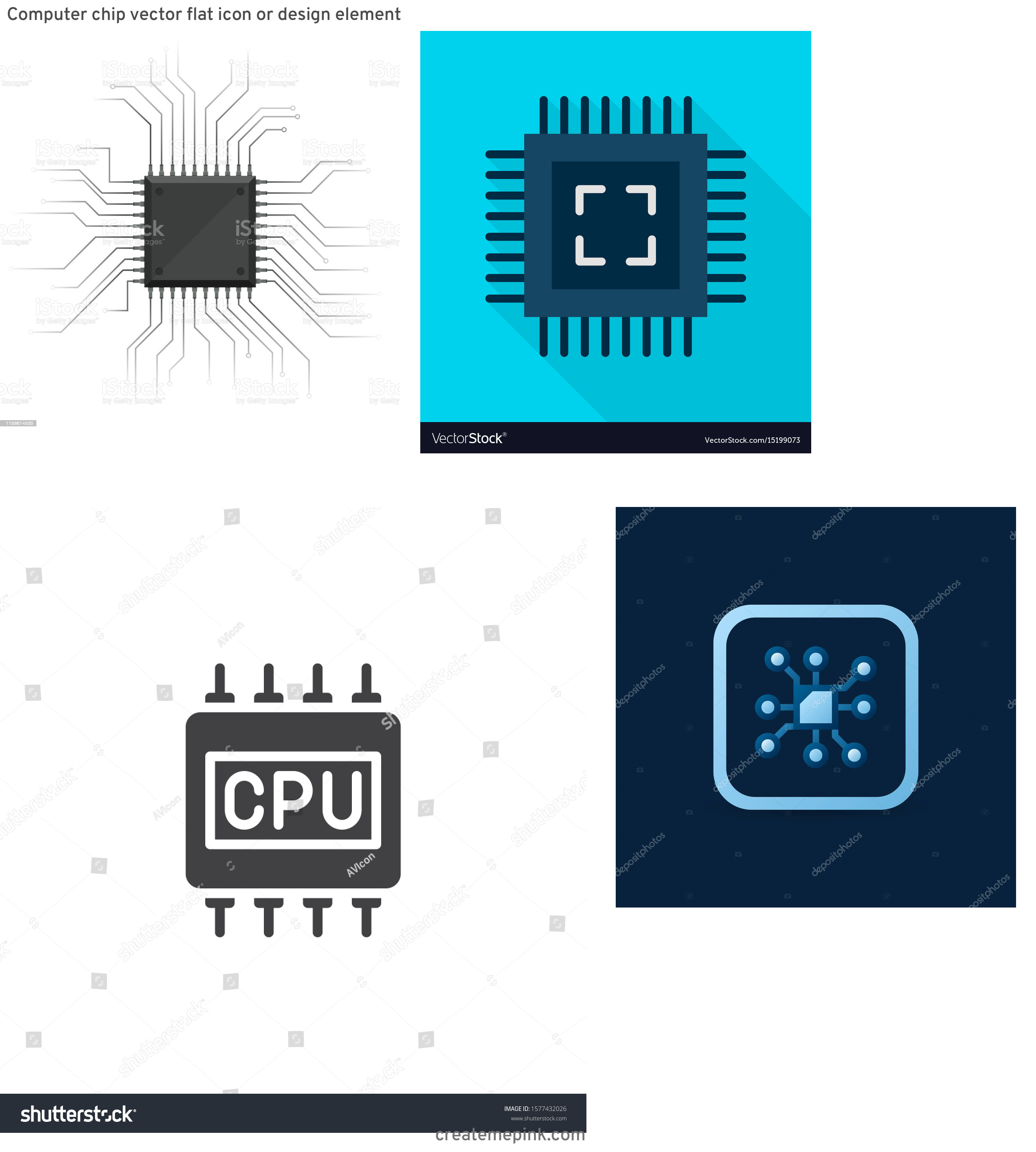Computer Chip Vector: Computer Chip Vector Flat Icon Or Design Element