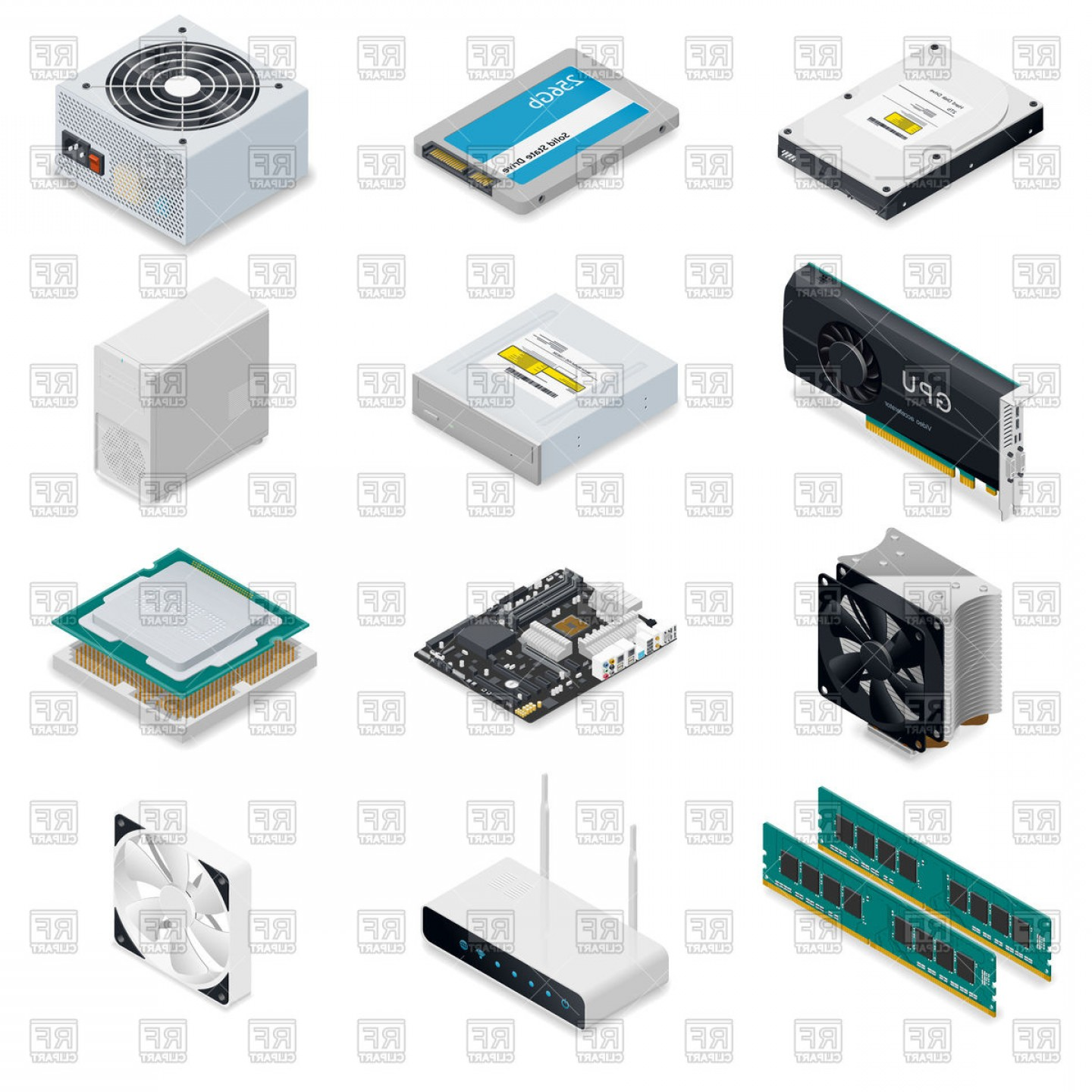 Vector Travel Cooler Parts: Computer Detailed Isometric Parts Vector Clipart