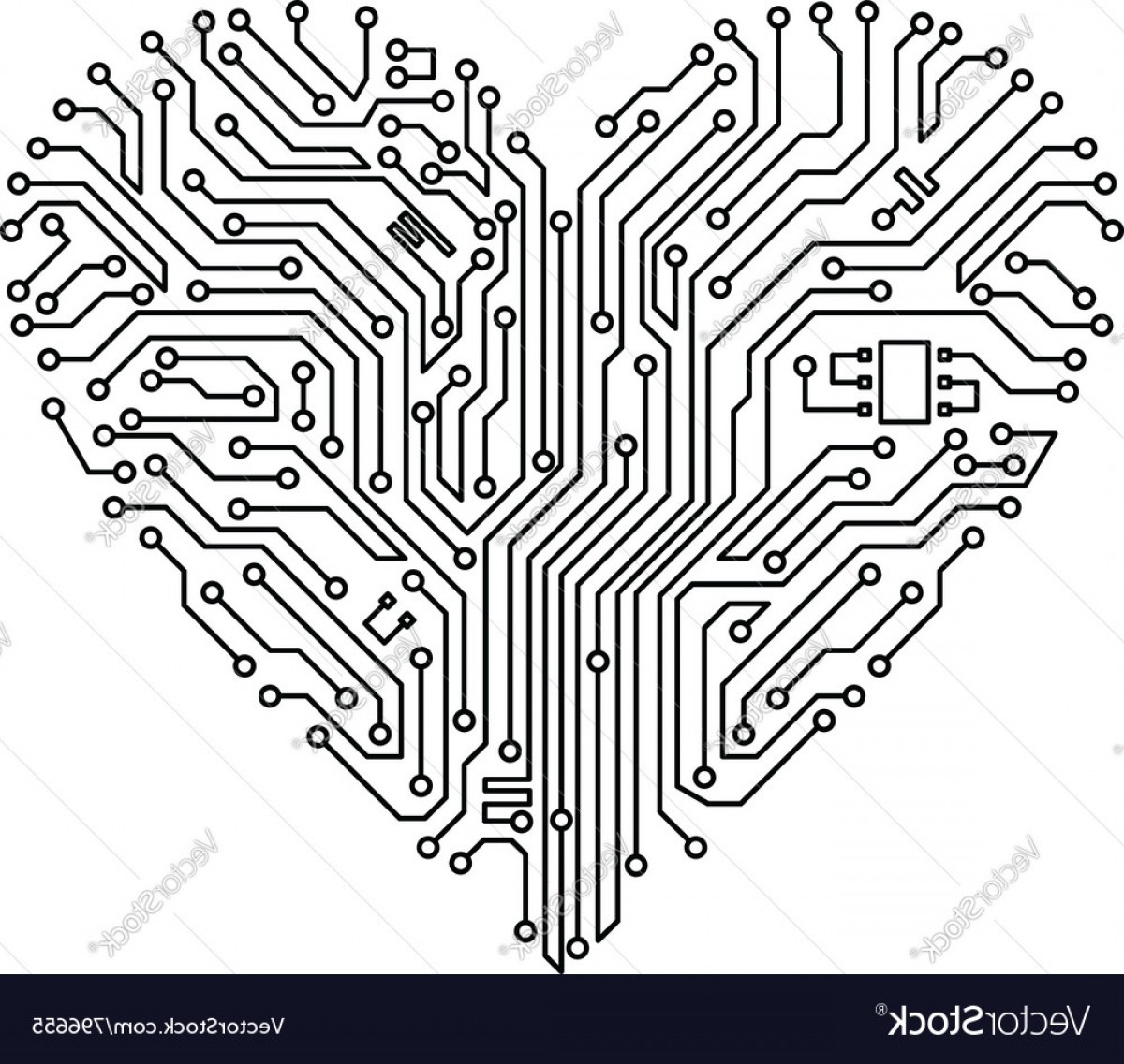 Motherboard Vector With A Heart: Computer Heart With Motherboard Vector