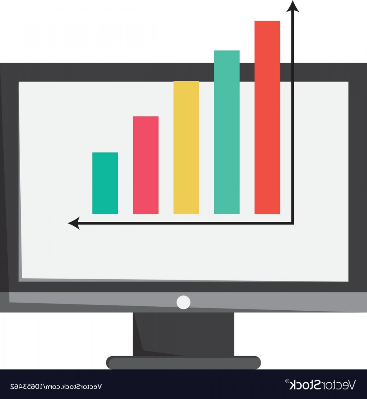 Bar Graph Icon Vector: Computer Monitor And Bar Graph Icon Vector