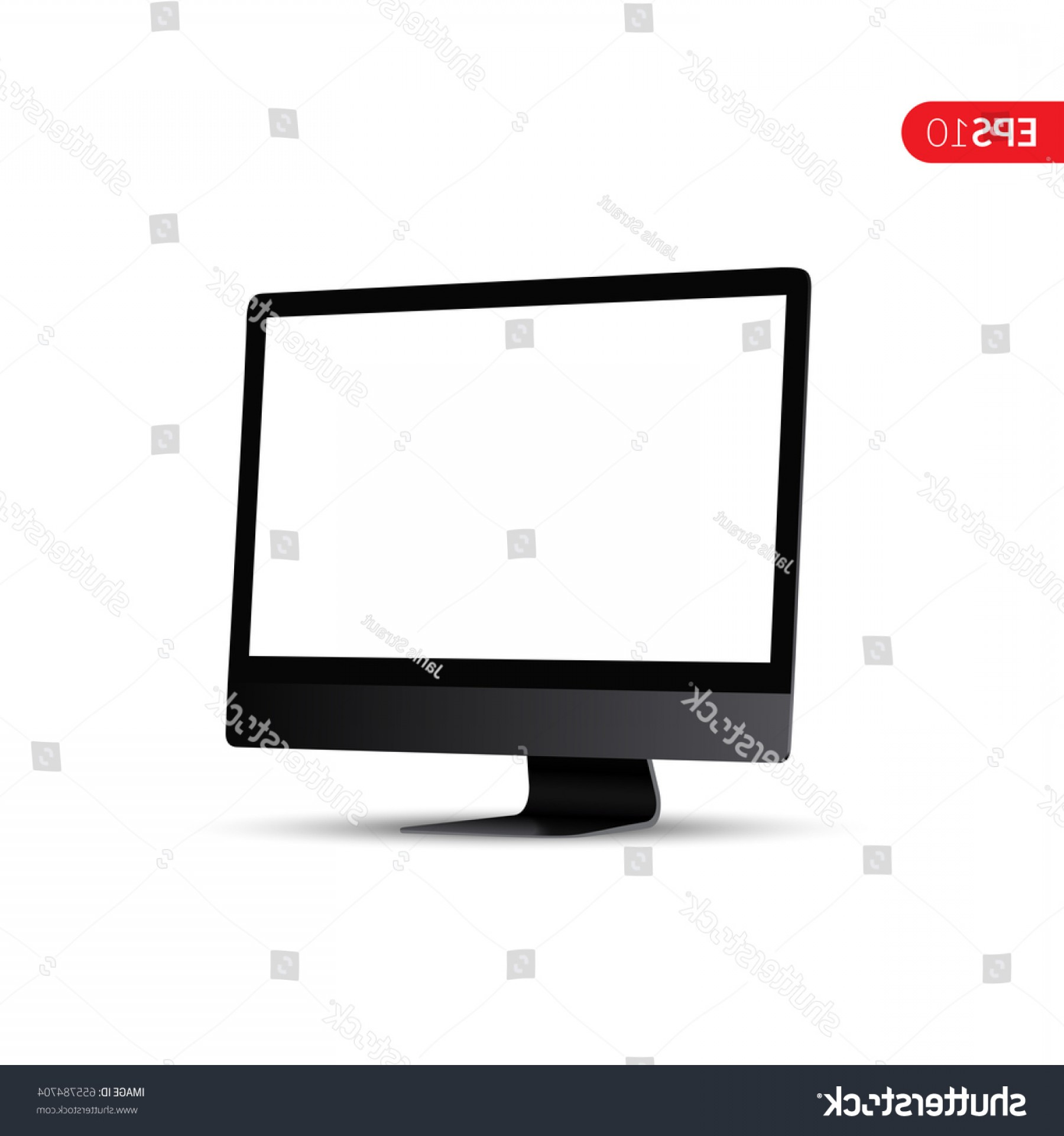 Perspective Vector: Computer White Display Perspective Vector Design