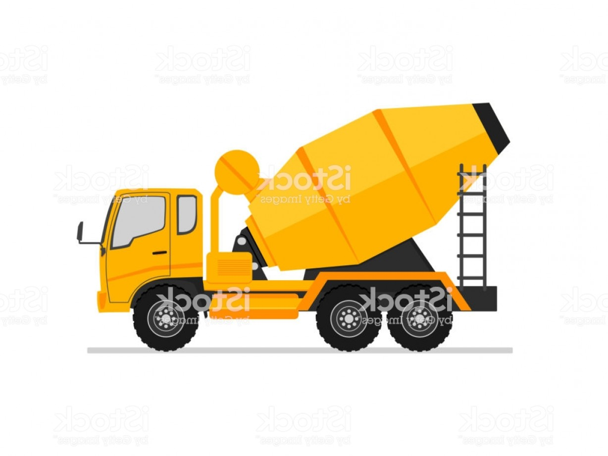 Vector Concrete Truck: Concrete Truck Icon Mixer Cement Truck Side View In Flat Style Design Industry Gm