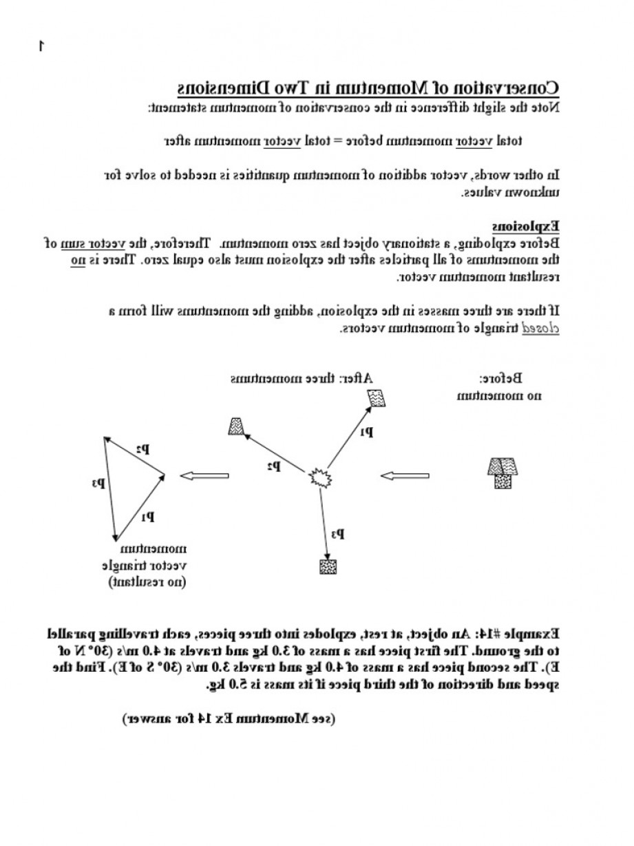 Momentum Three Vectors: Conservation Of Momentum In D Notes