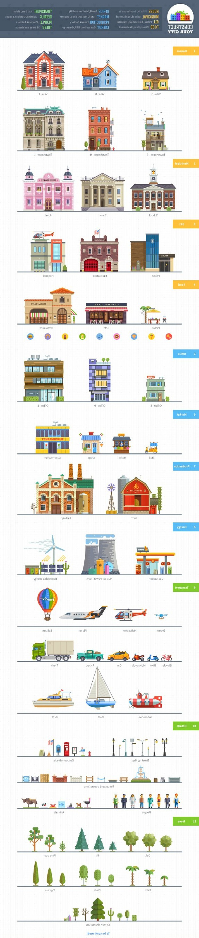 Here's Your Sign Vector: Construct Your City Flat Vector Kit