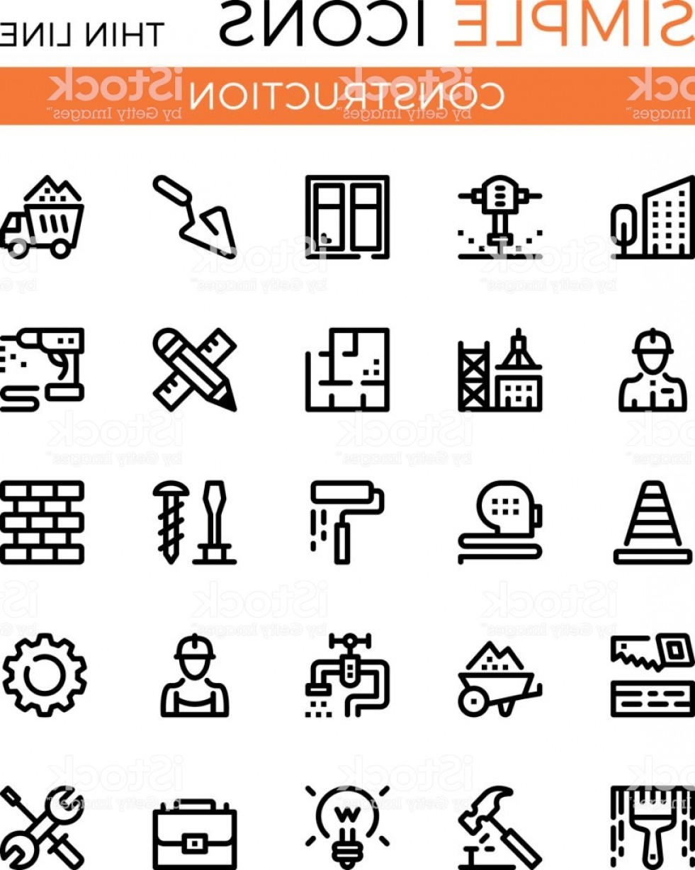 Vector Graphic Of Civil Engineering: Construction Civil Engineering Building Vector Thin Line Icons Set X Px Modern Gm