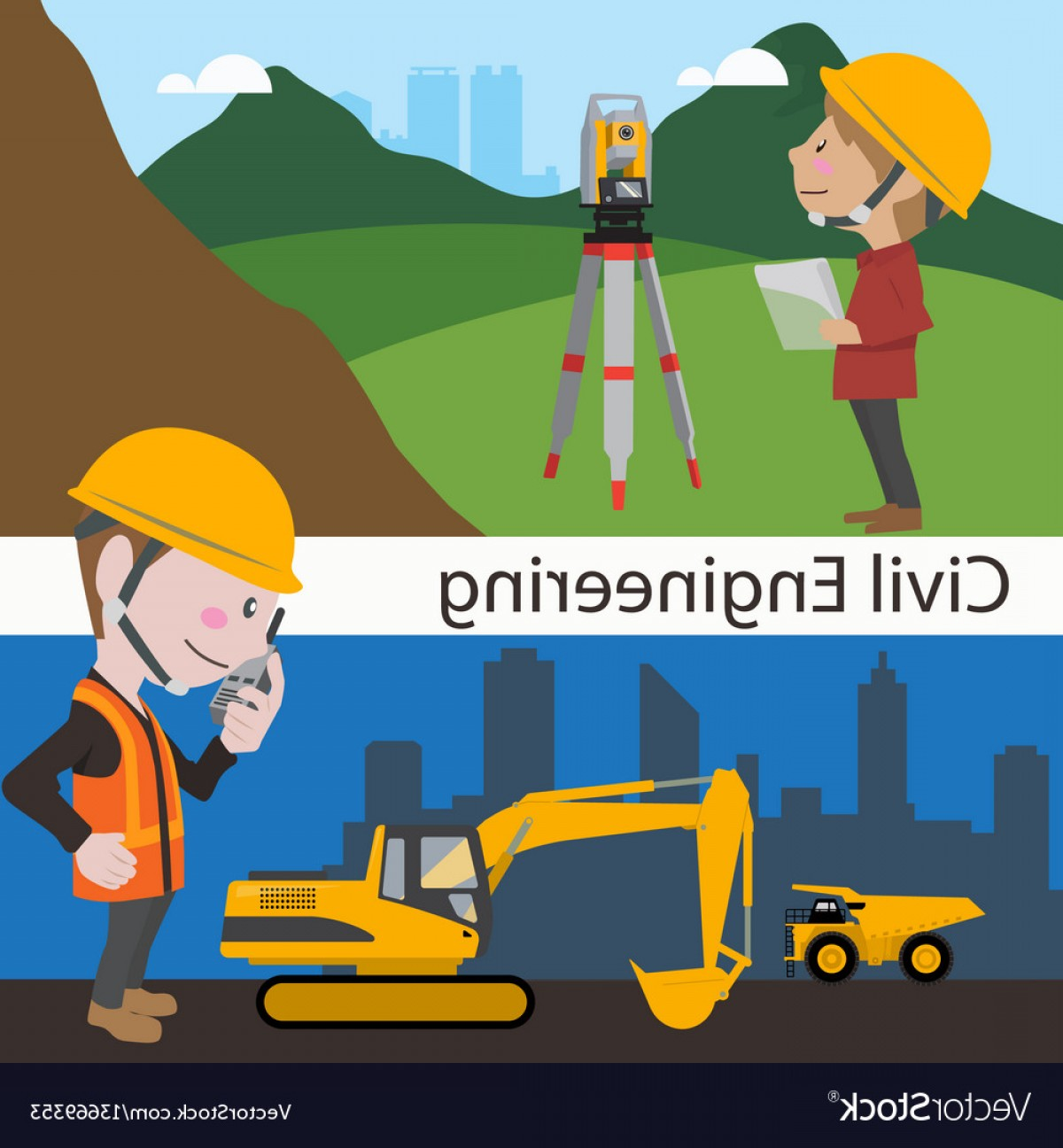 Vector Graphic Of Civil Engineering: Construction Civil Engineering Land Survey Vector
