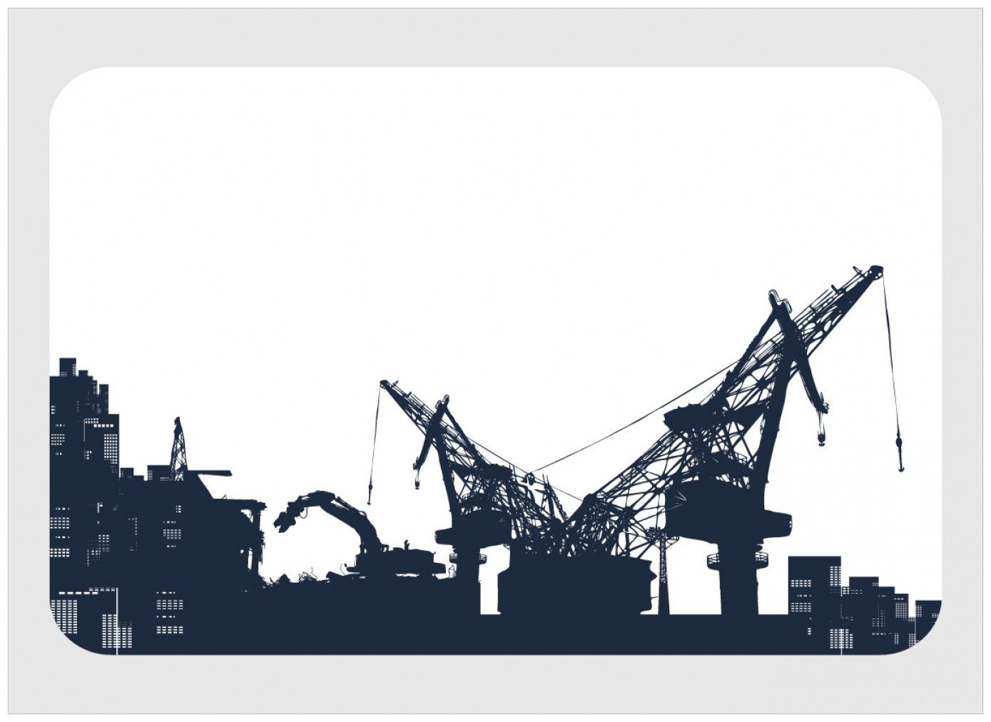 Free Vector Download Sites: Construction Site Heavy Machinery Silhouette Vector Material