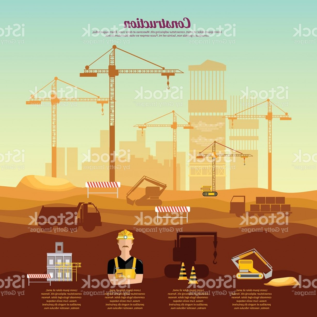Industrial Vector Art: Construction Site Infographics Industrial Background Gm