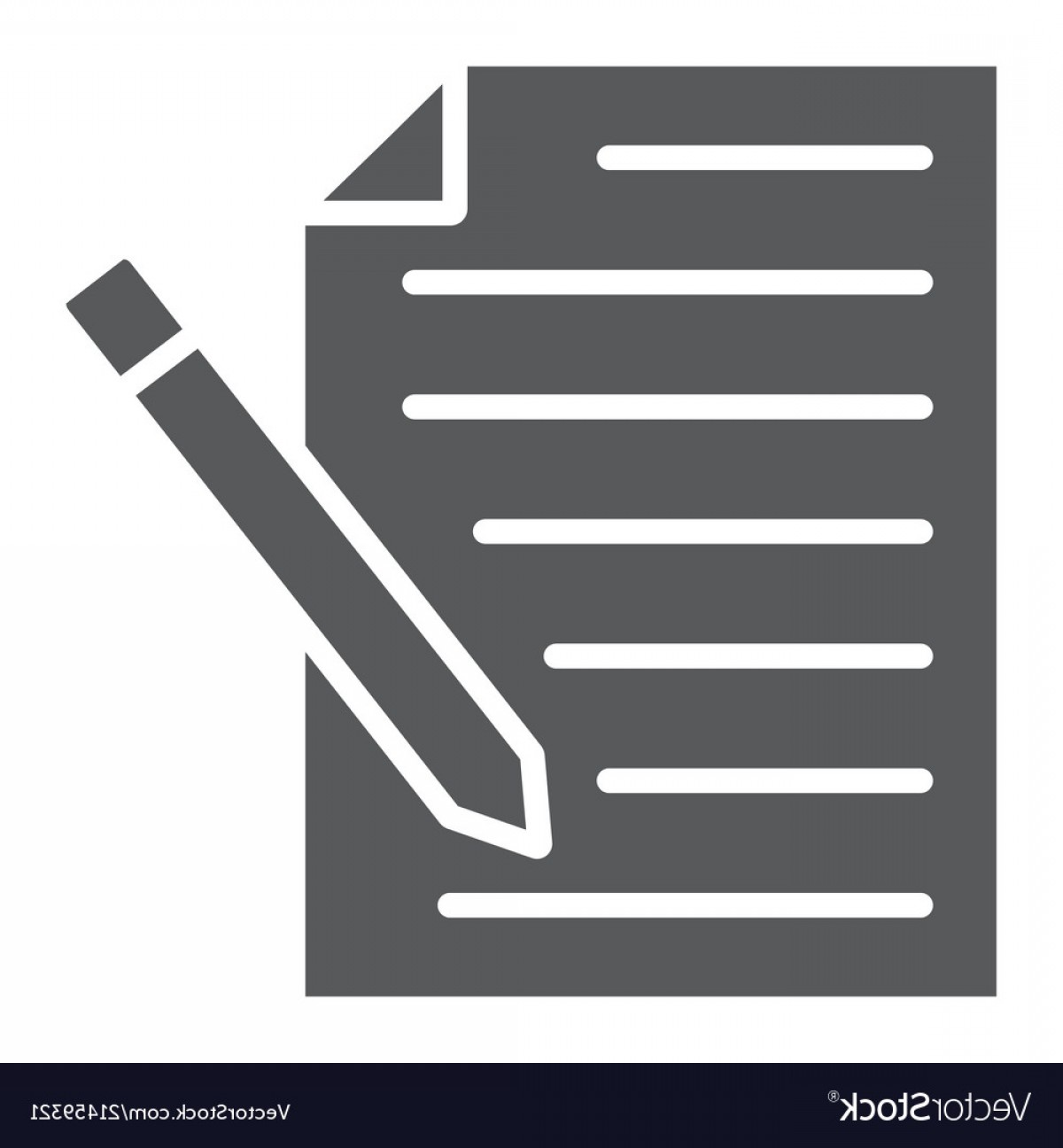 Paper And Pencil Icon Vector: Contact Form Glyph Icon Paper And Pen Blank Sign Vector