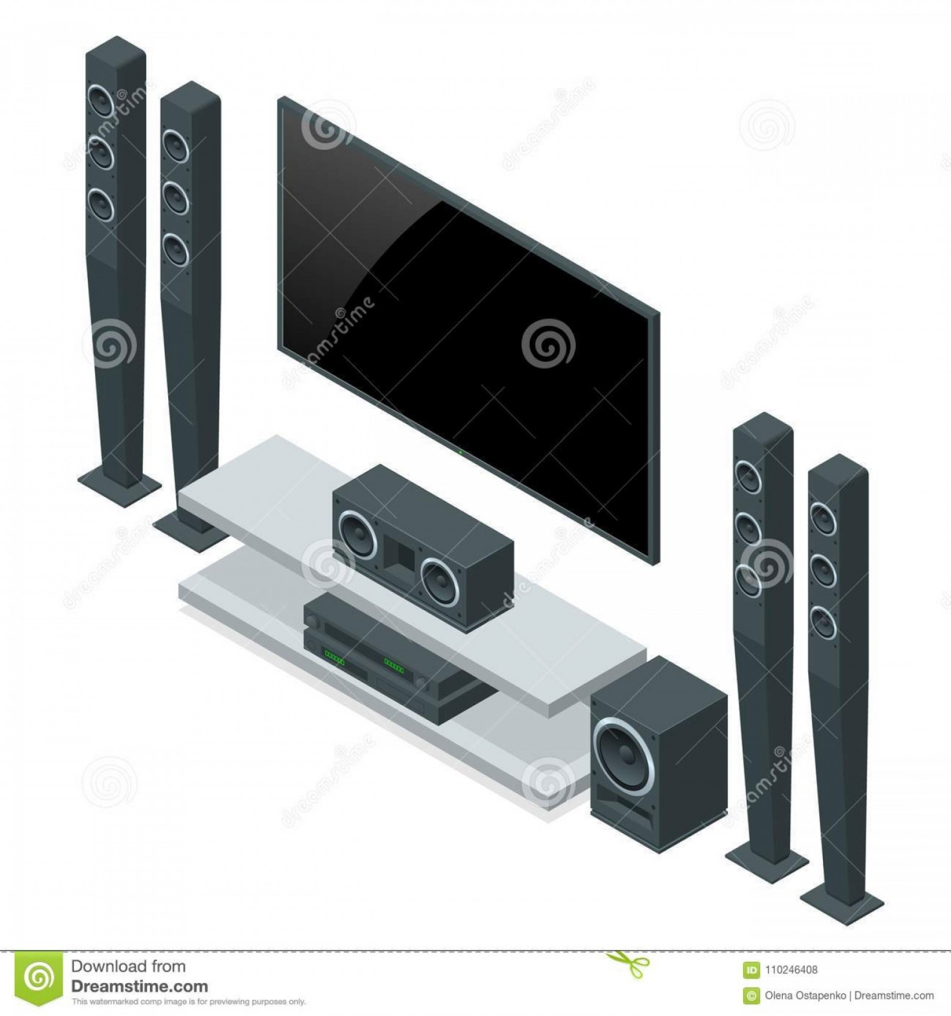 Xbox 360 Vector: Contemporary Home Theater Room Digitally Created High Resolution Rendered Home Theater System Vector Isometric Image