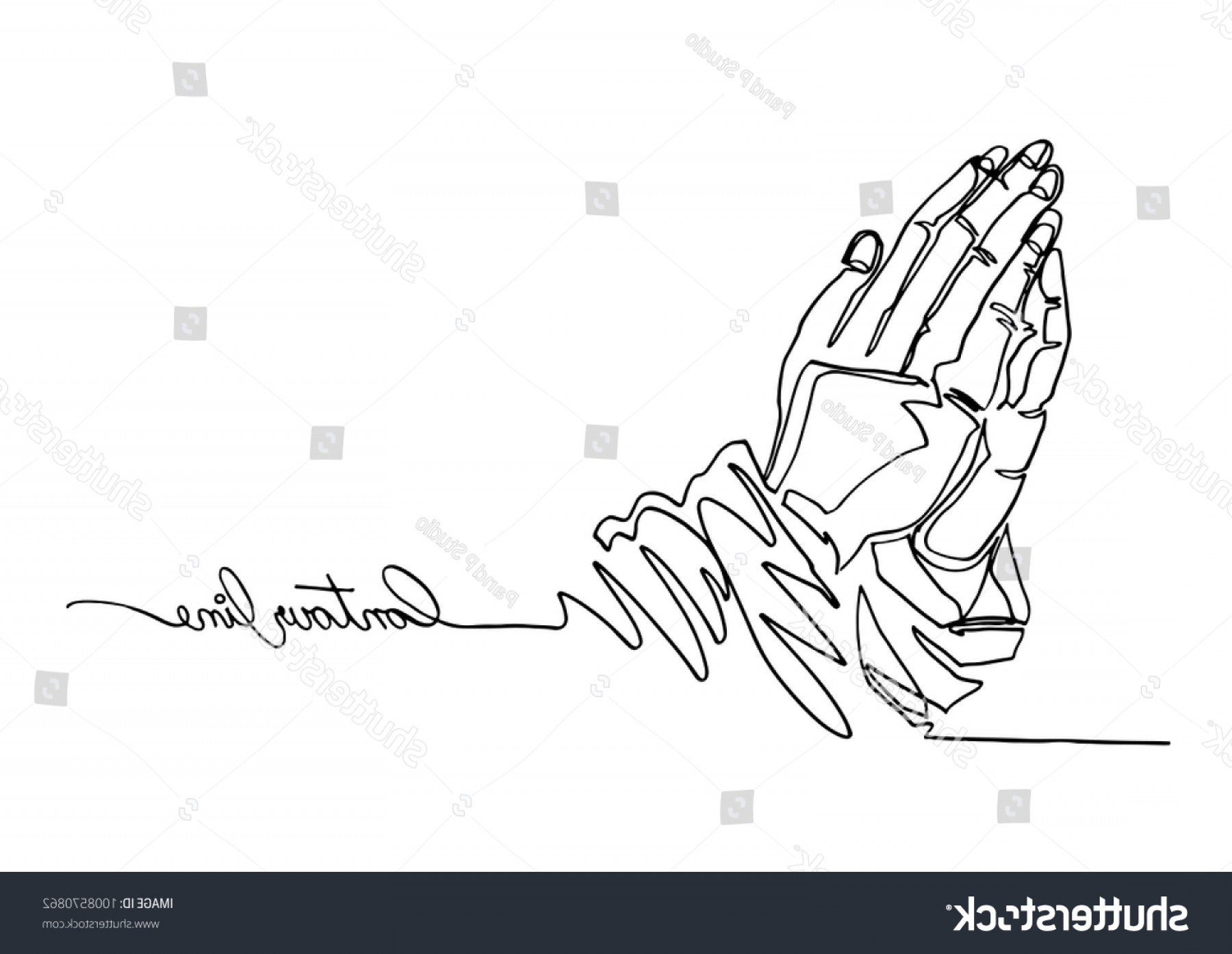 Praying Hands Vectors Shutterstock: Continuous Line Art One Drawing Prayer
