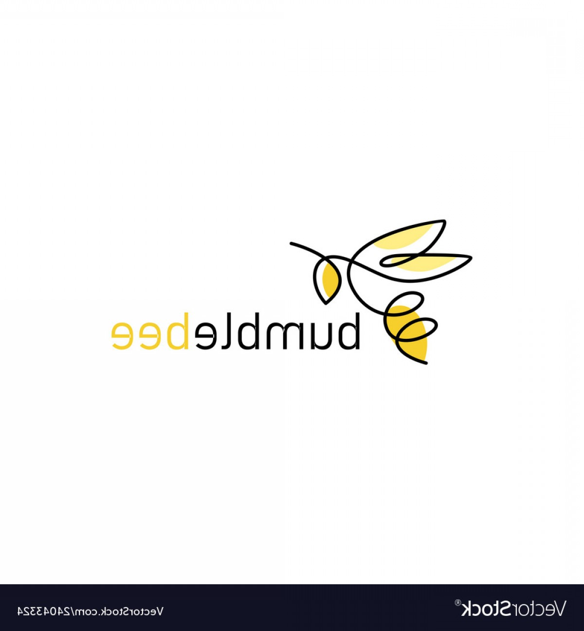 Bee Outline Vector: Continuous Line Bee Logo Icon Bumblebee Outline Vector