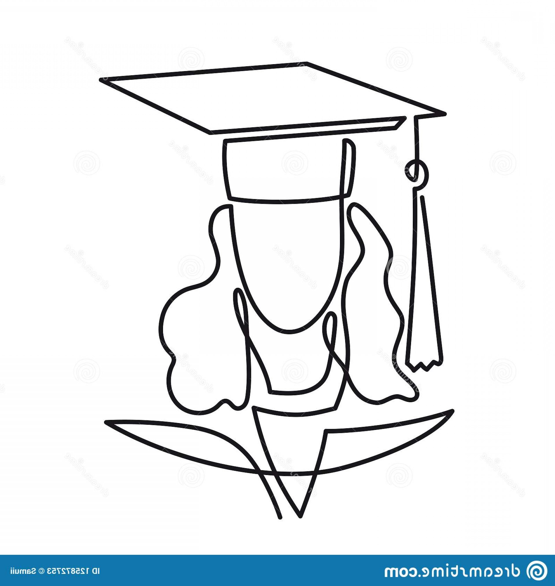 Graduation Clip Art Vector: Continuous Line Drawing Graduation Student Vector One Art Icon Isolated White Background Graduate Woman Linear Pictogram Image