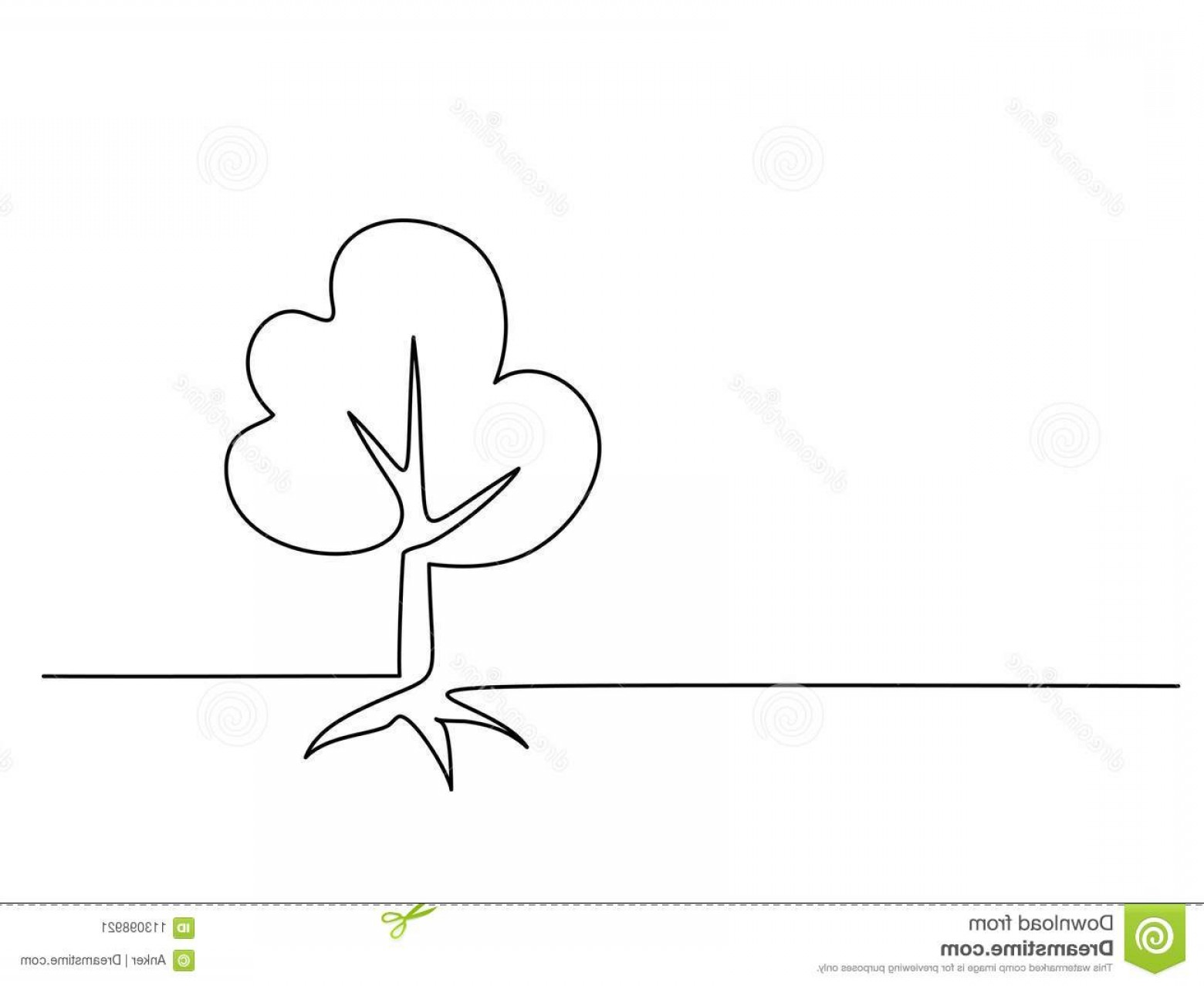 Continuous Tree Branch Vector Image: Continuous Line Drawing Tree Roots White Background Vector Illustration Tree Roots White Background Image