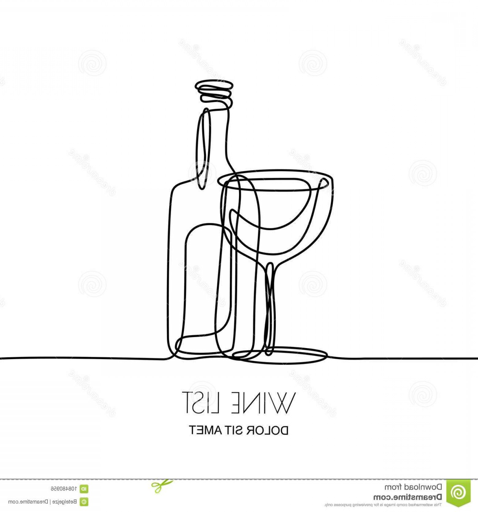Wine Bottle Vector Line Art: Continuous Line Drawing Vector Linear Black Illustration Wine Bottle Glass Isolated White Background Concept Design Image