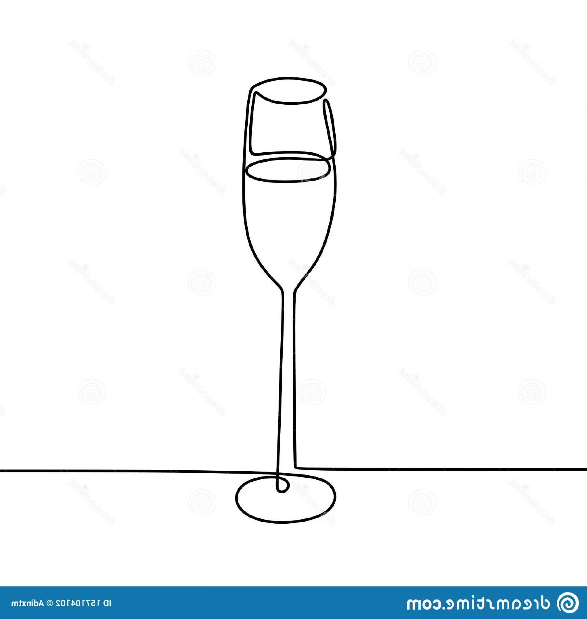 Single Wine Glass Silhouette Vector: Continuous One Line Drawing Wine Glass Isolated White Background Vector Illustration Minimalism Design Beverage Element Image