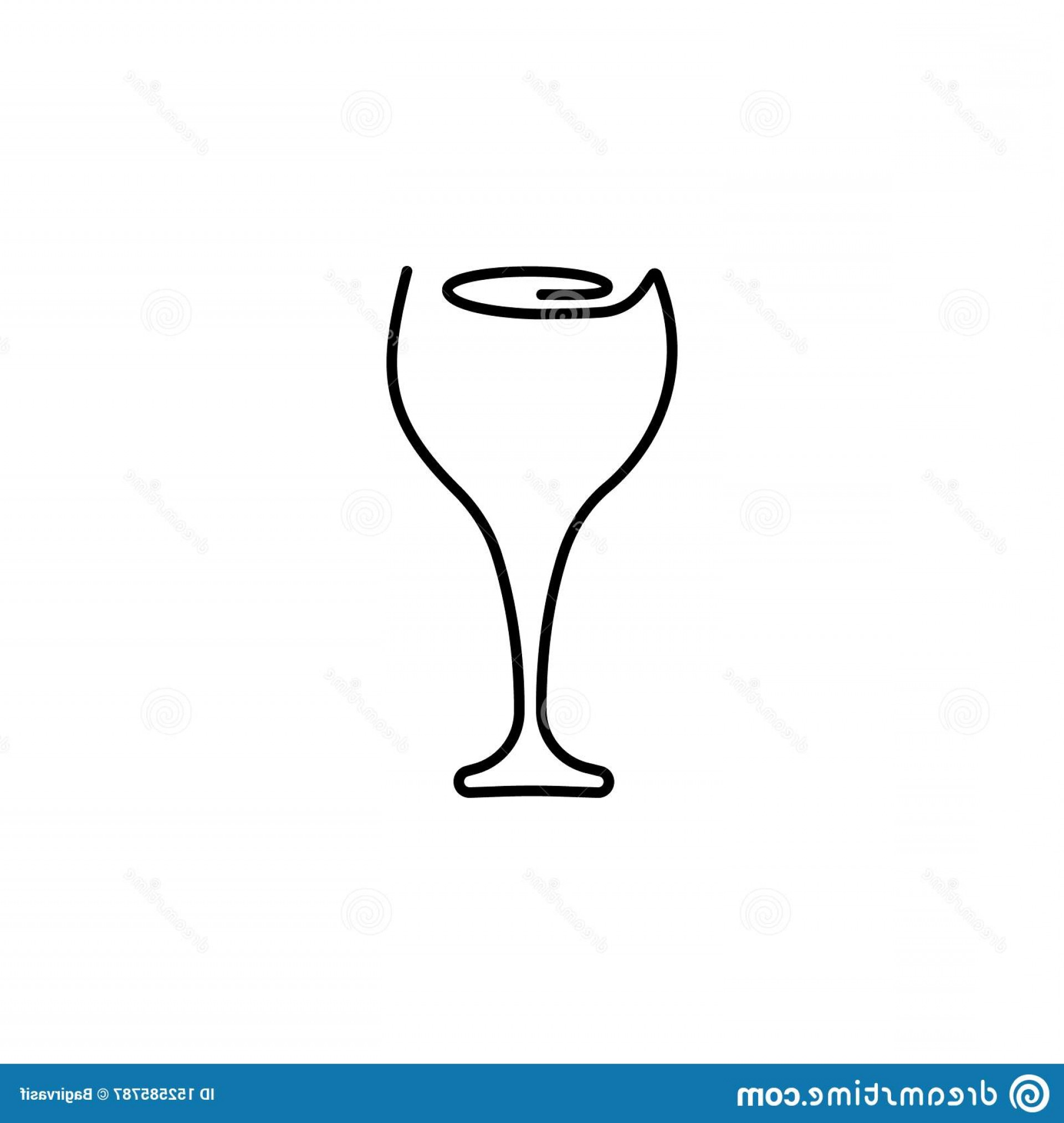 Single Wine Glass Silhouette Vector: Continuous One Line Drawing Wine Glass Vector Illustration Image